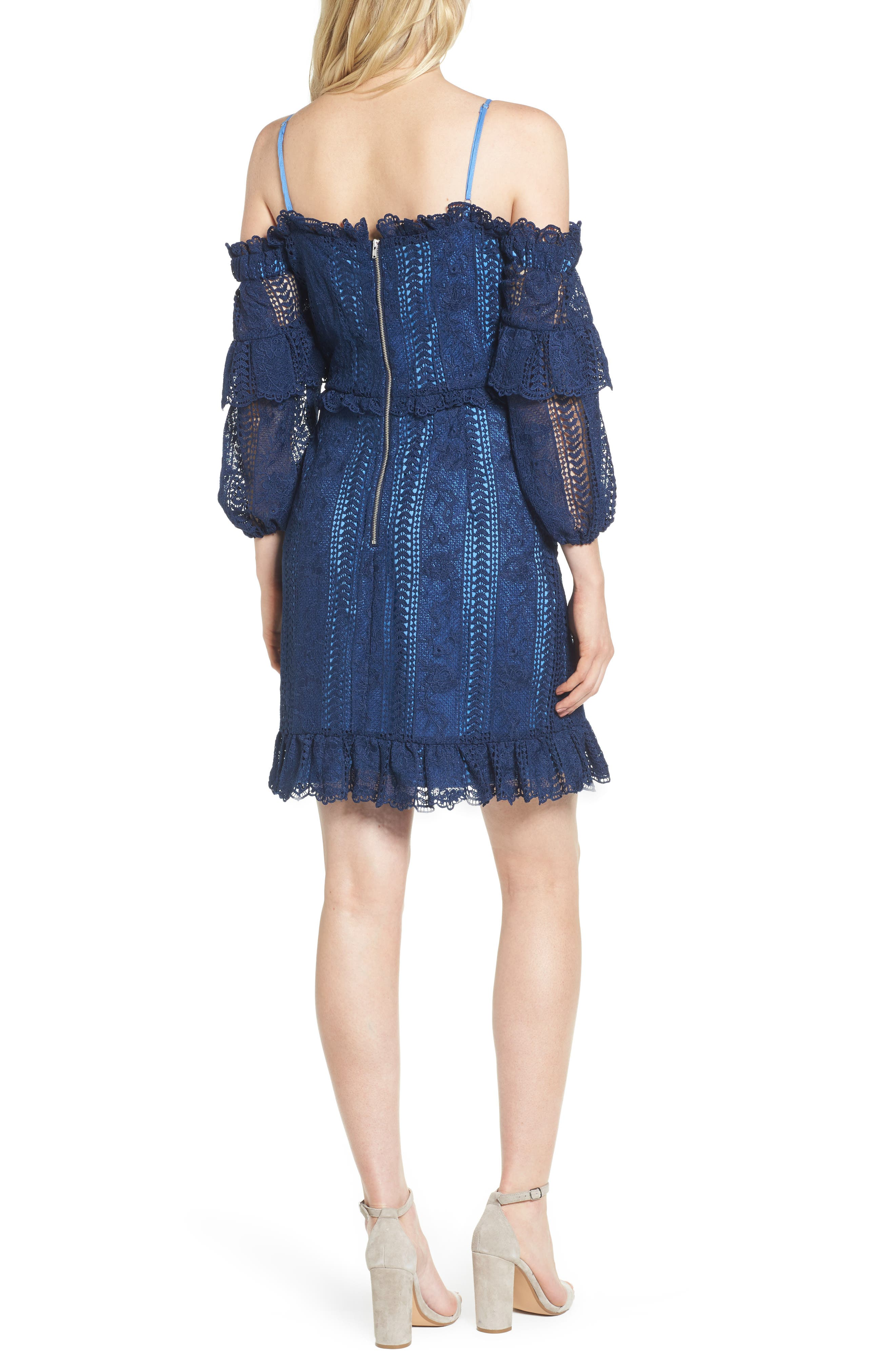 Irma Lace Off the Shoulder Dress,                             Alternate thumbnail 2, color,                             Night