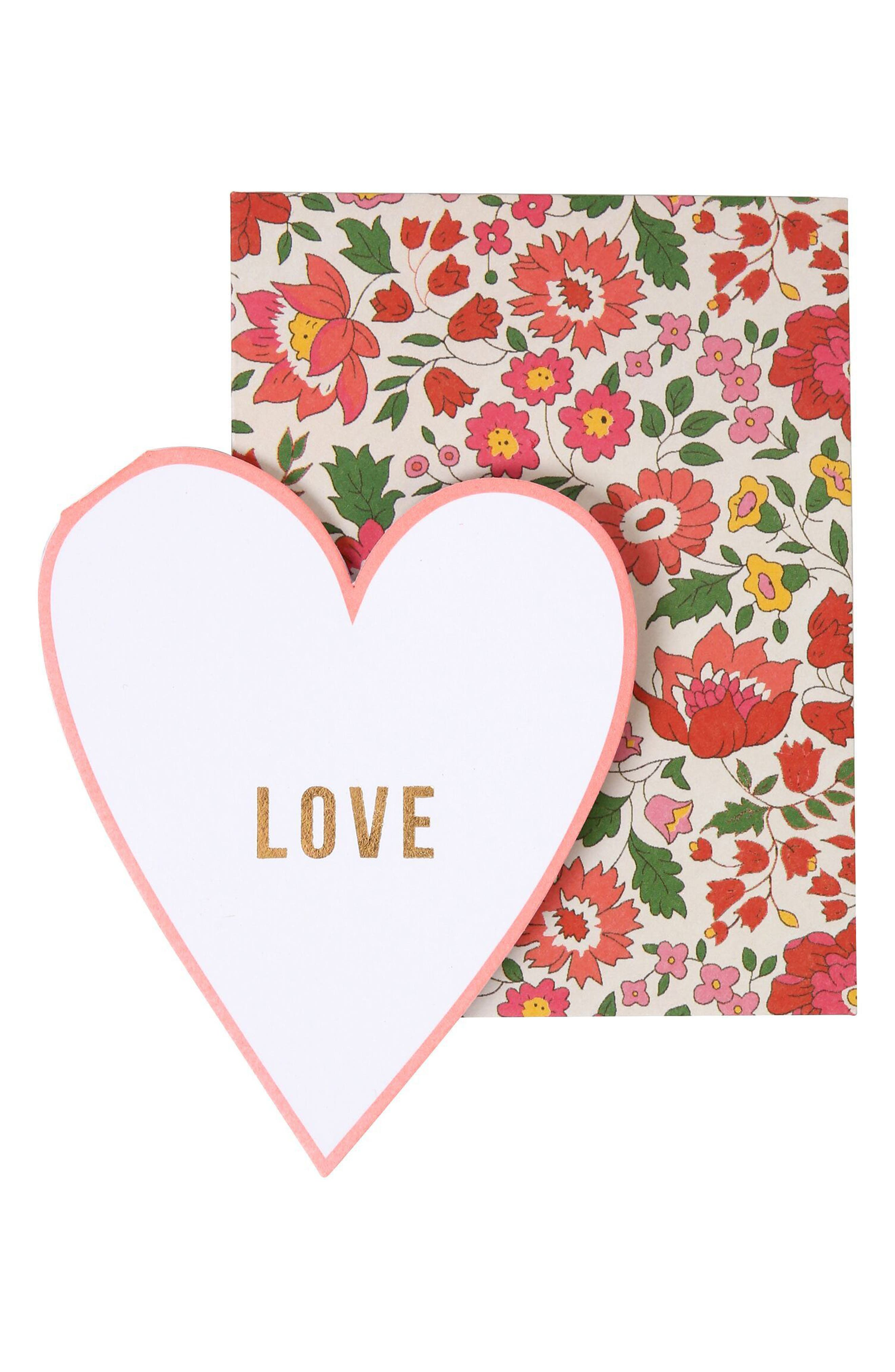 x Liberty Set of 20 Heart Note Cards,                             Main thumbnail 1, color,                             Multi