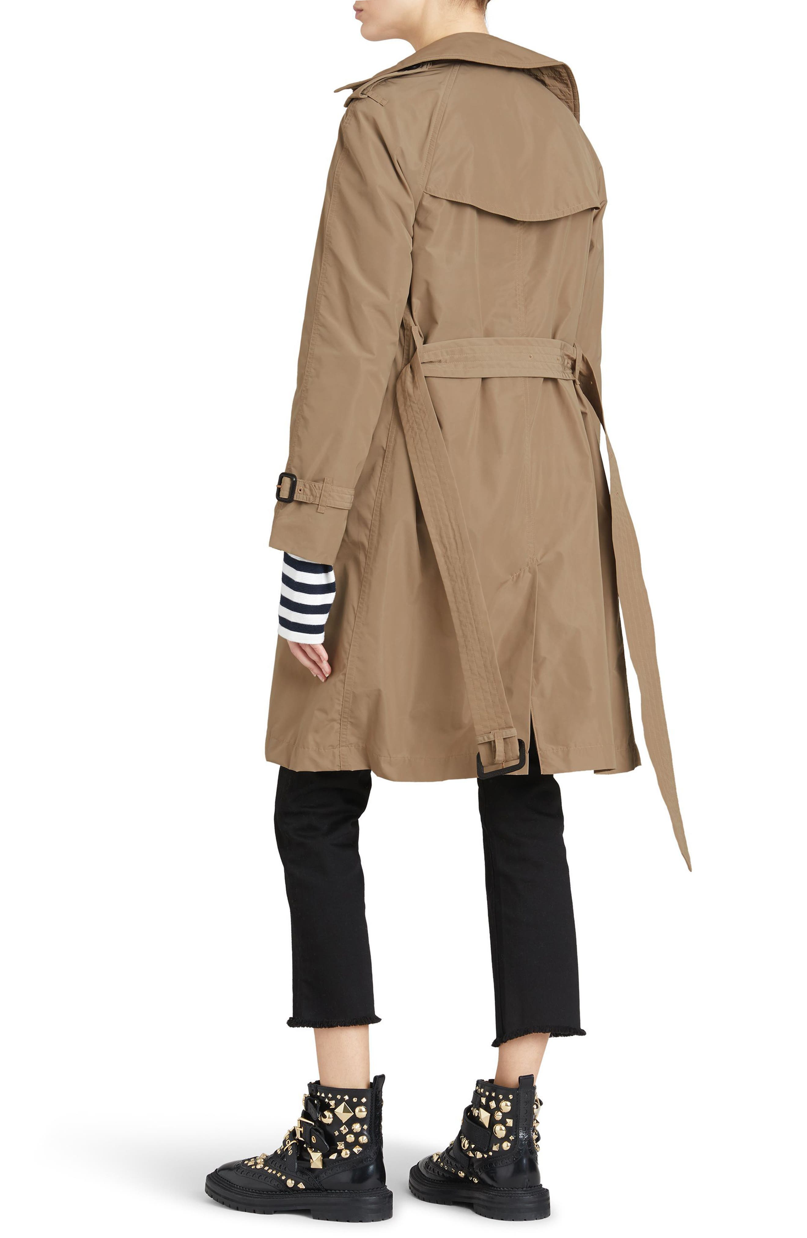 Amberford Taffeta Trench Coat with Detachable Hood,                             Alternate thumbnail 3, color,                             Sisal