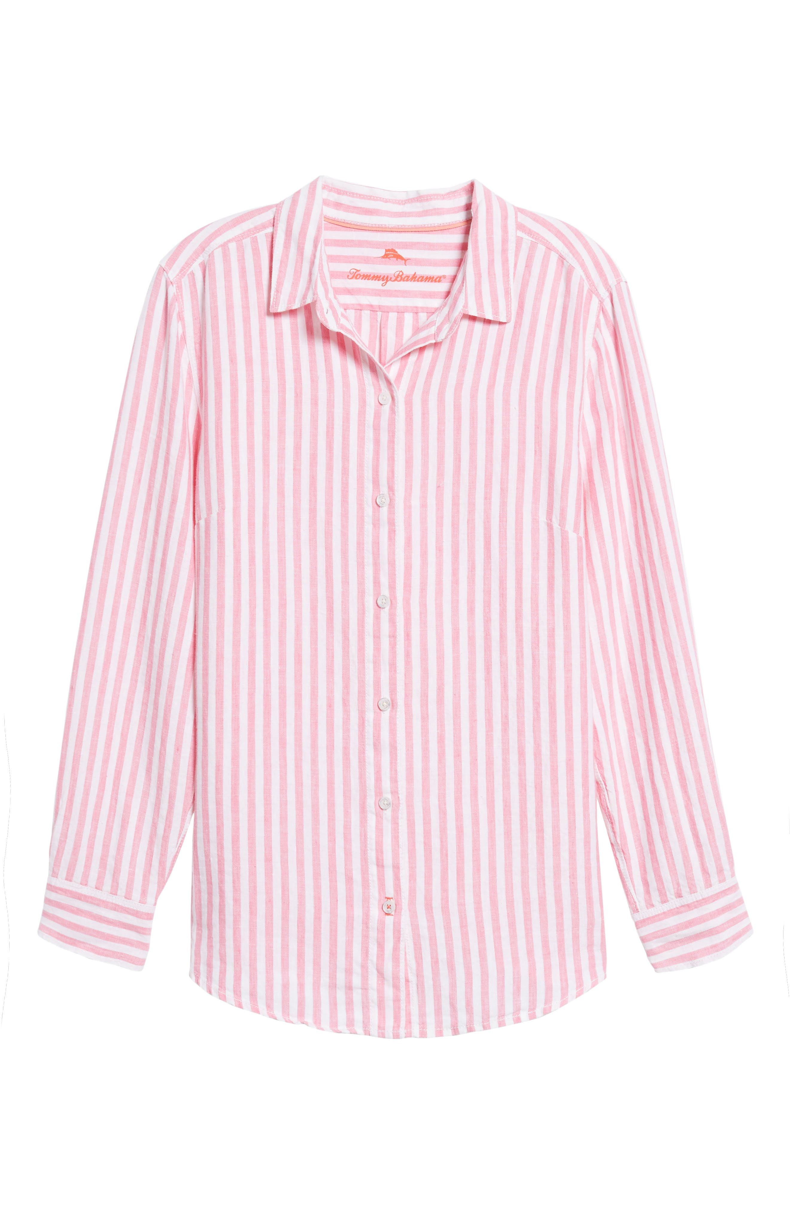Cabana Stripe Button-Up Top,                             Main thumbnail 1, color,                             Soft Flamingo