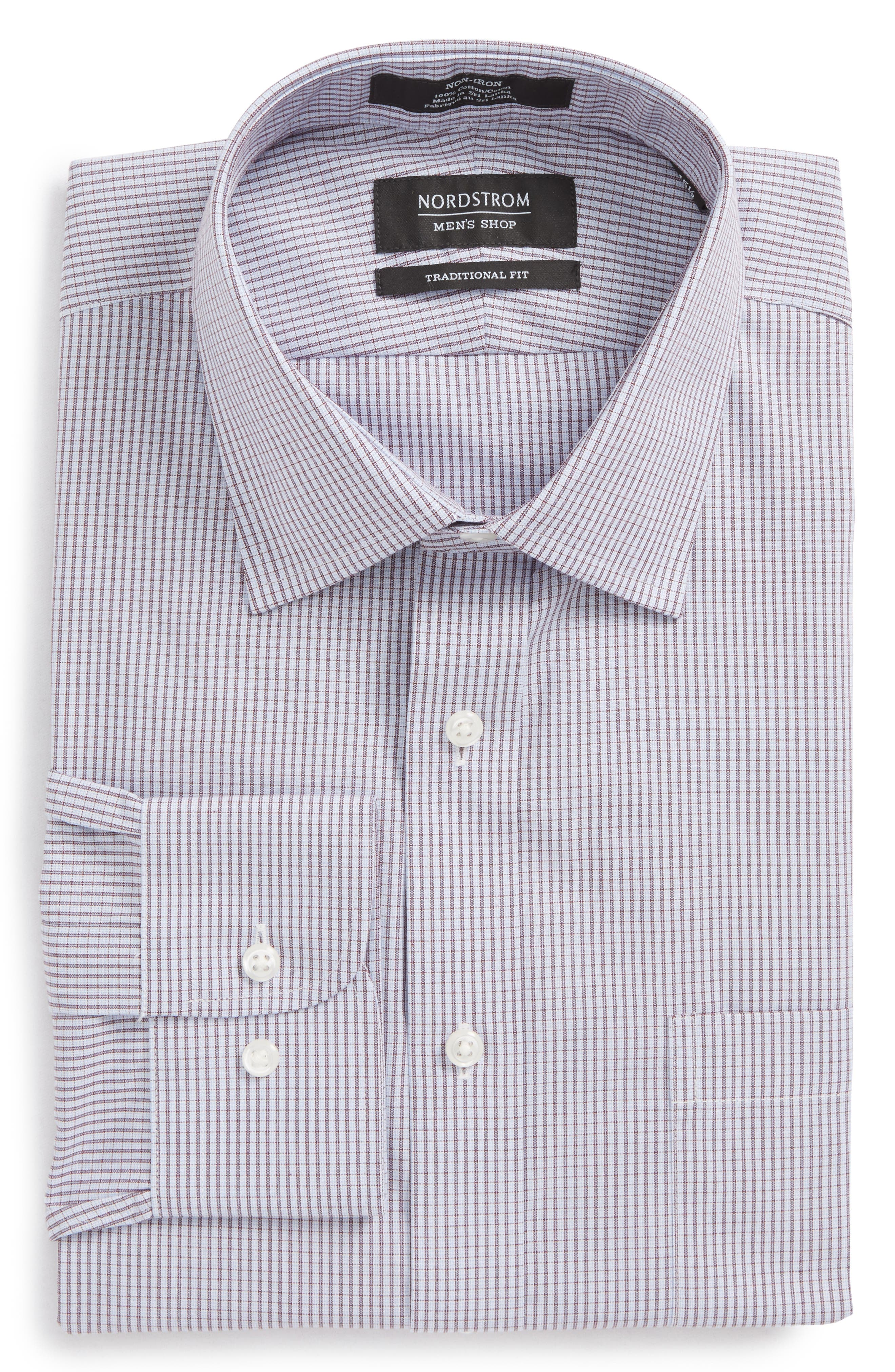 Traditional Fit Non-Iron Check Dress Shirt,                             Alternate thumbnail 6, color,                             Burgundy Royale