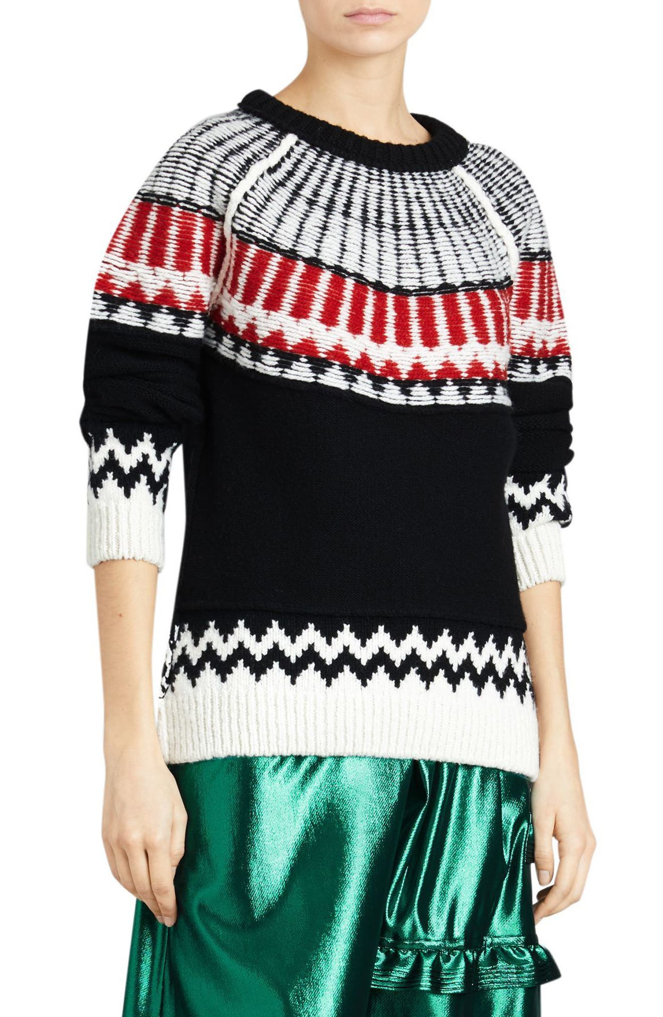 Trycroft Fair Isle Wool Blend Sweater,                             Main thumbnail 1, color,                             Black/ Military Red