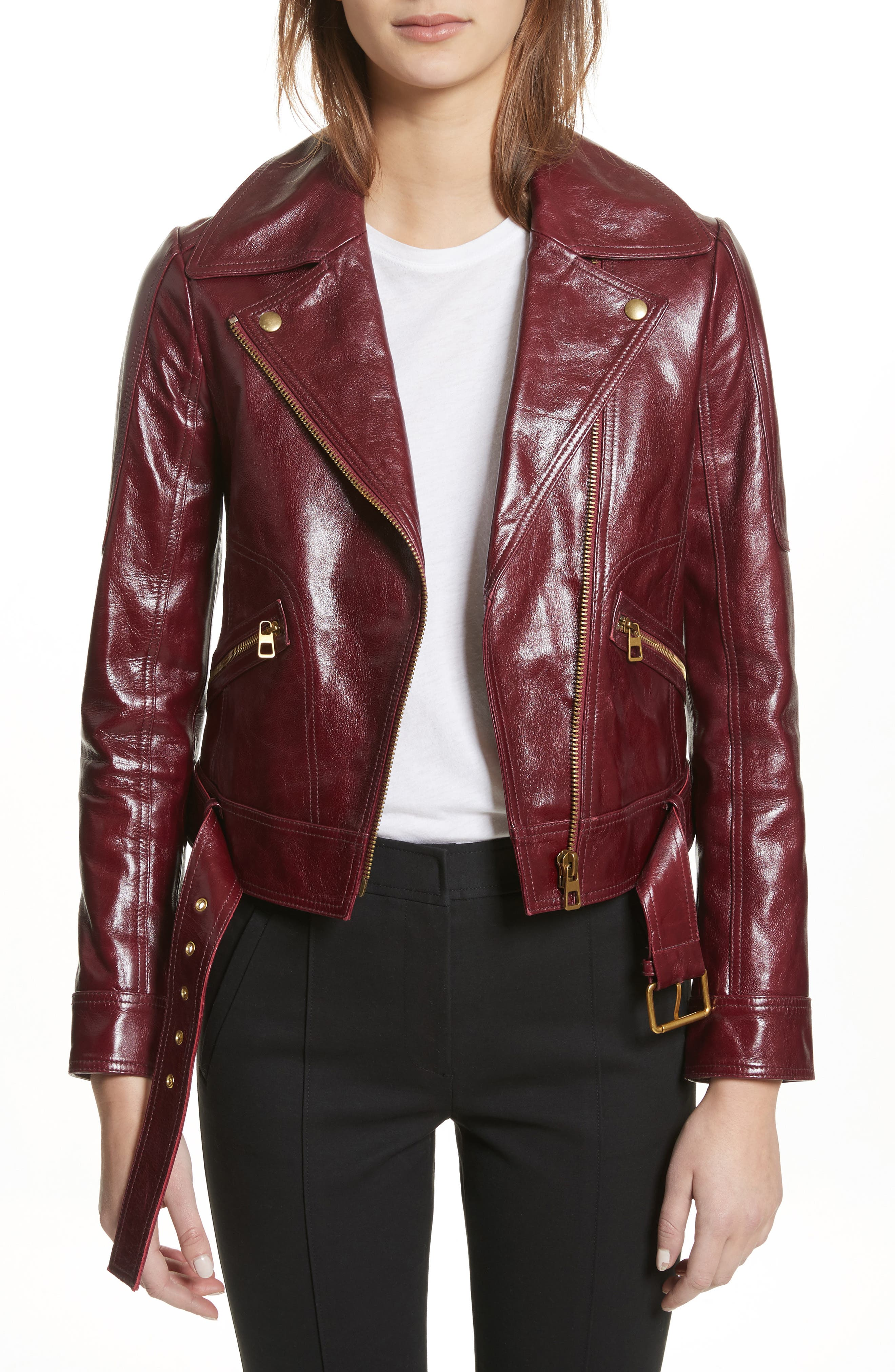 Bianca Leather Moto Jacket,                             Main thumbnail 1, color,                             Red