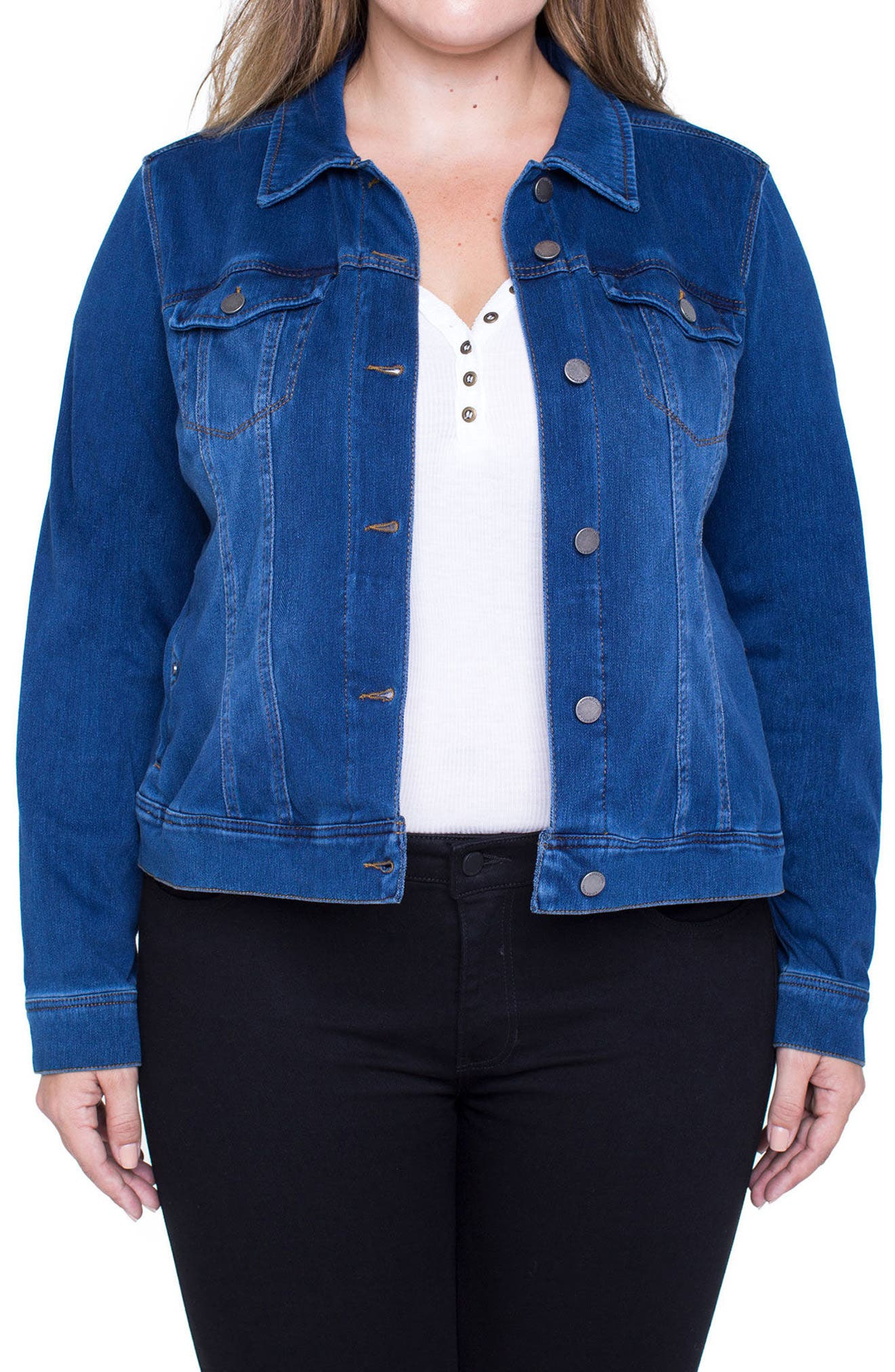 Alternate Image 1 Selected - Liverpool Jeans Company Denim Knit Jacket (Plus Size)