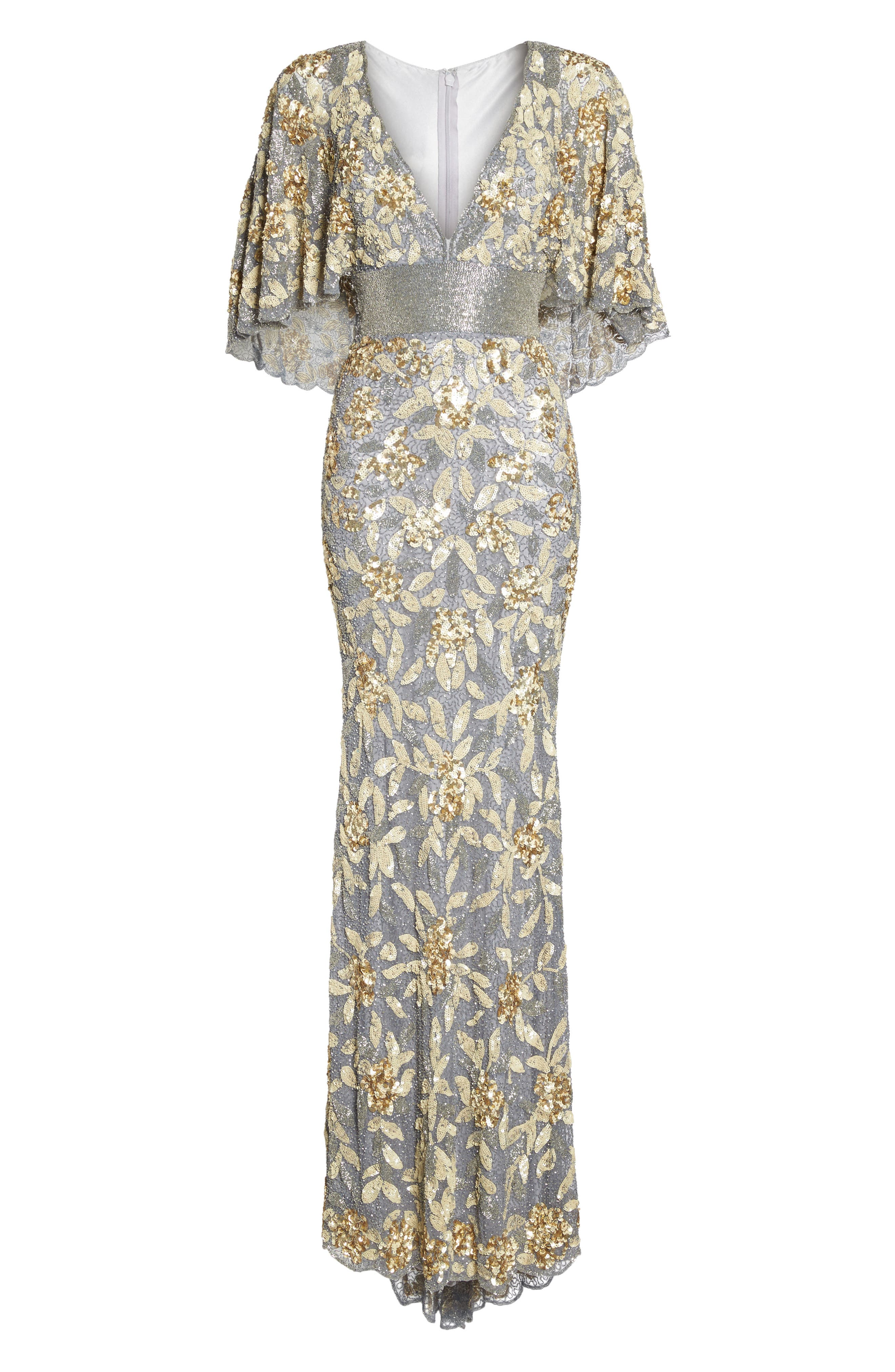 Sequin & Bead Embellished Gown,                             Alternate thumbnail 6, color,                             Platinum/ Gold