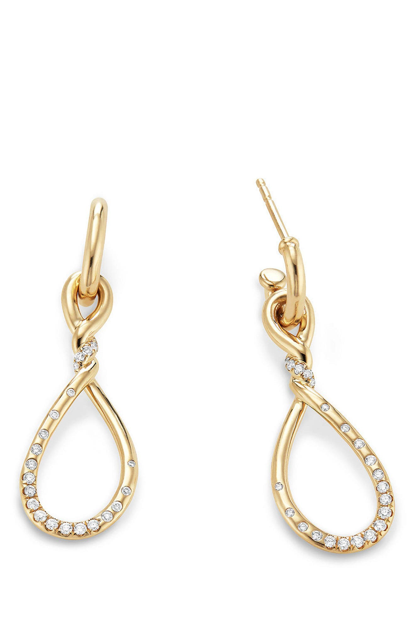 Continuance Medium Drop Earrings with Diamonds in 18K Gold,                             Alternate thumbnail 2, color,                             Yellow Gold