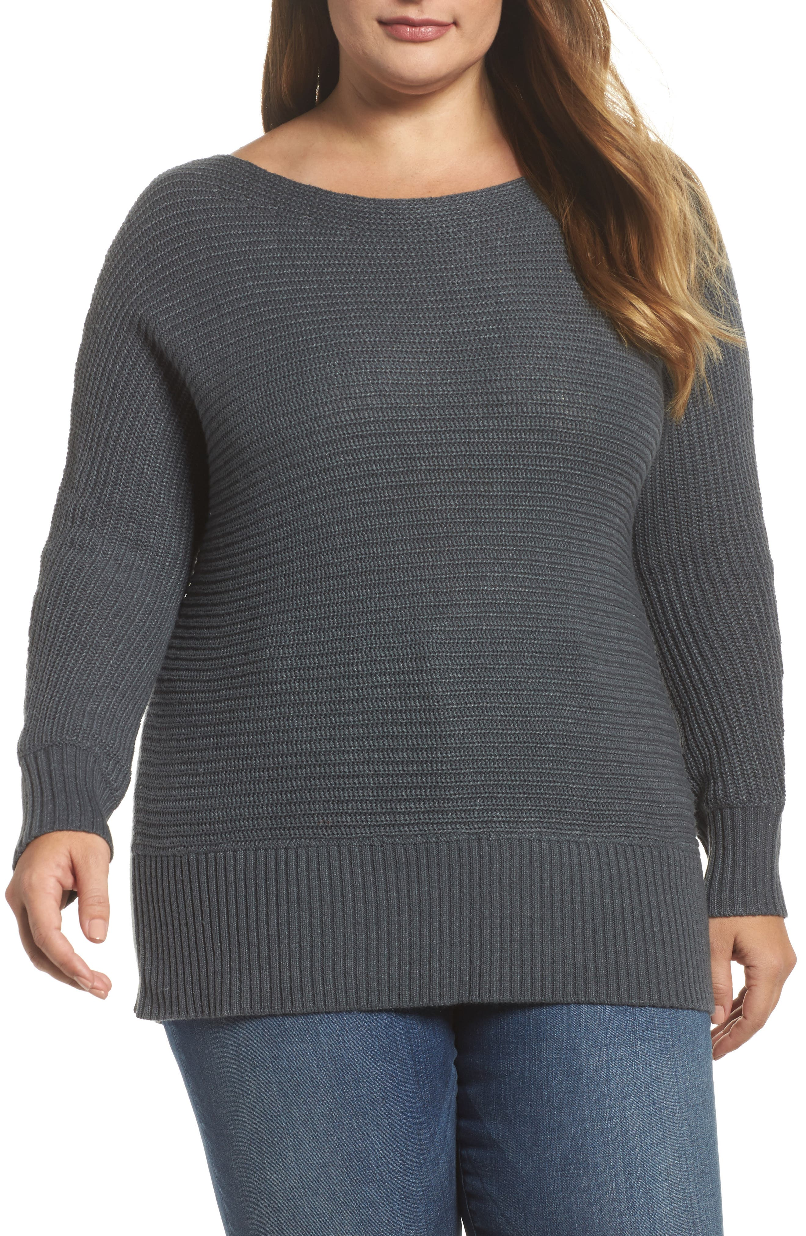Off the Shoulder Sweater,                             Main thumbnail 1, color,                             Storm Grey