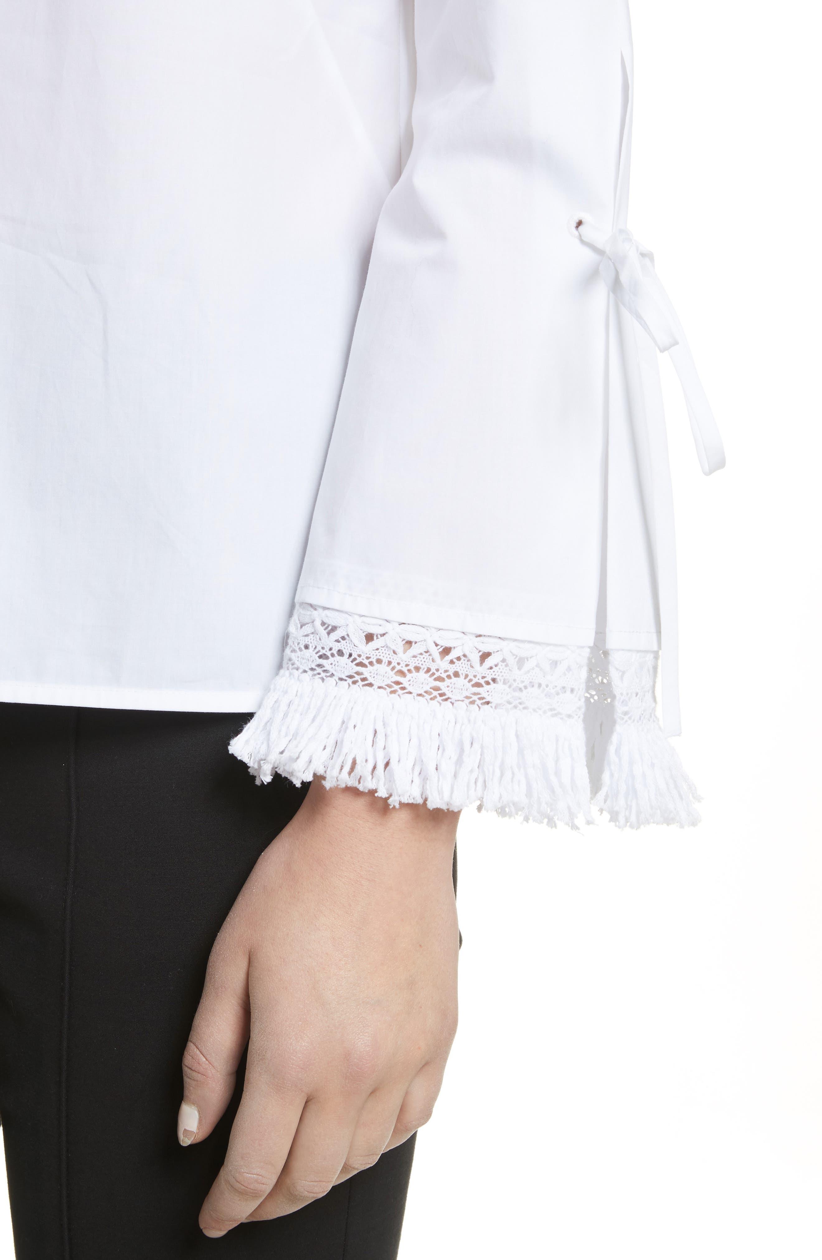 Sophie Tie Sleeve Cotton Blouse,                             Alternate thumbnail 4, color,                             White