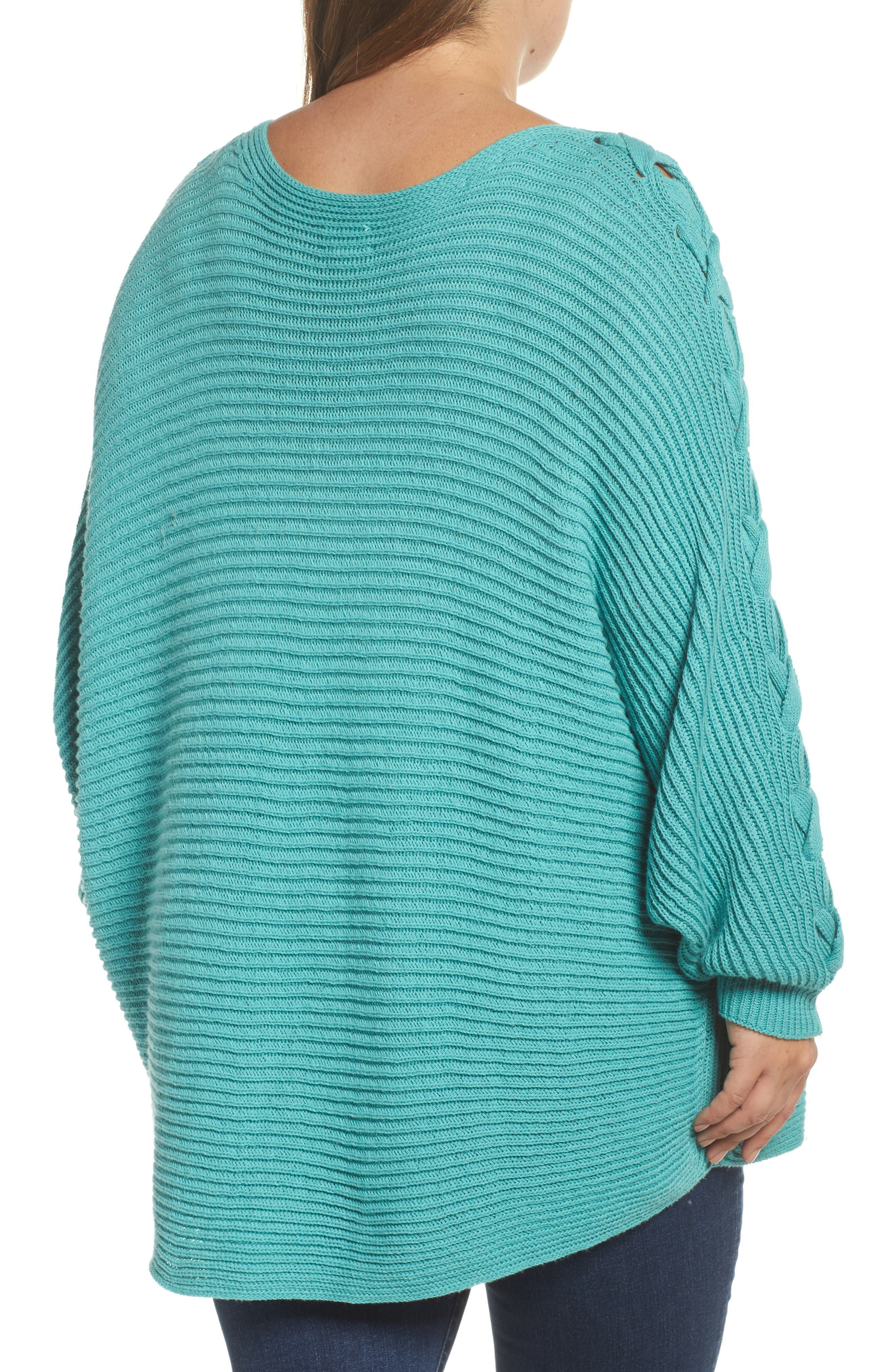 Lace-Up Sleeve Sweater,                             Alternate thumbnail 2, color,                             Green Agate