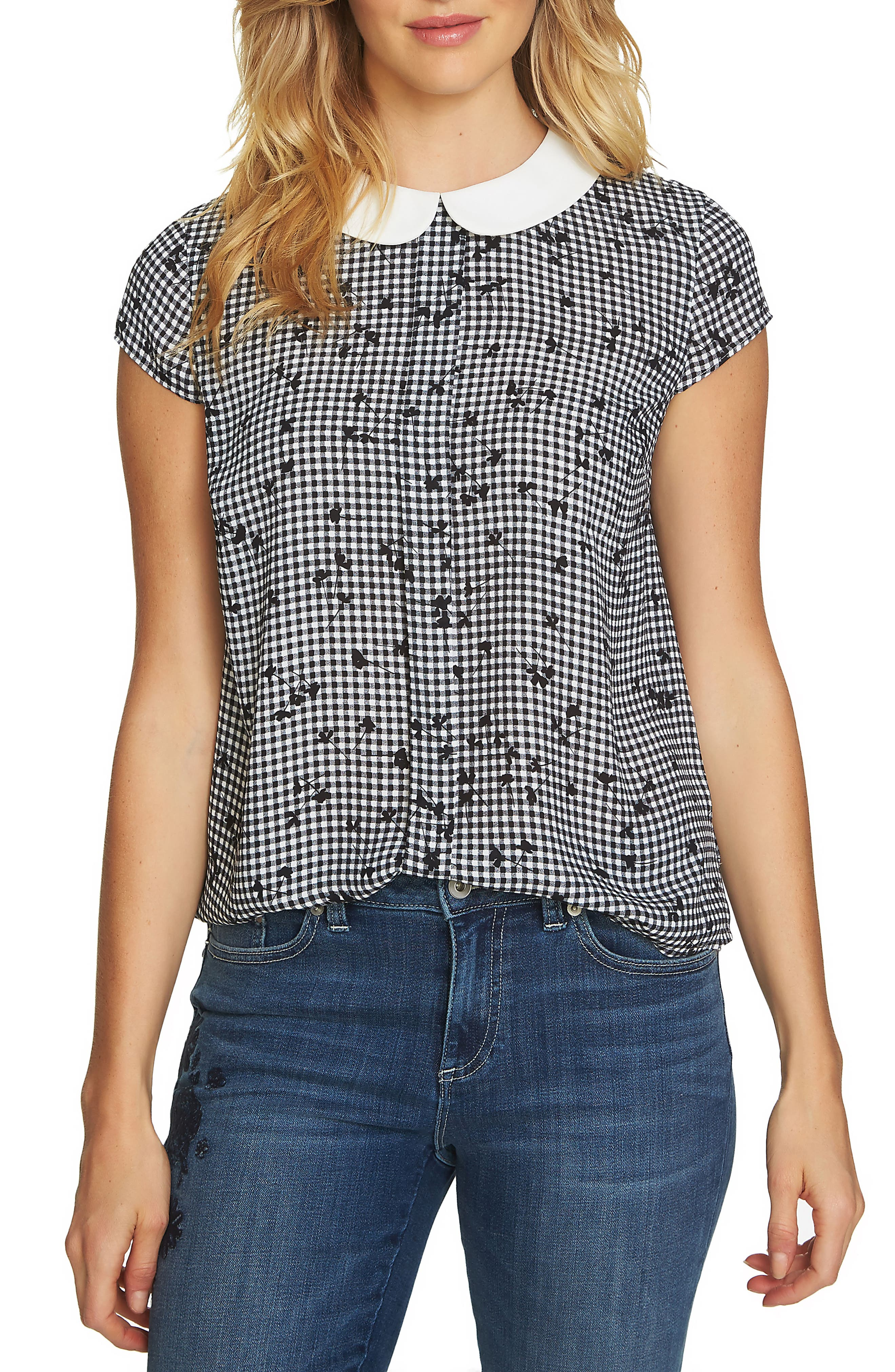 Main Image - CeCe Simple Check Ditsy Blouse