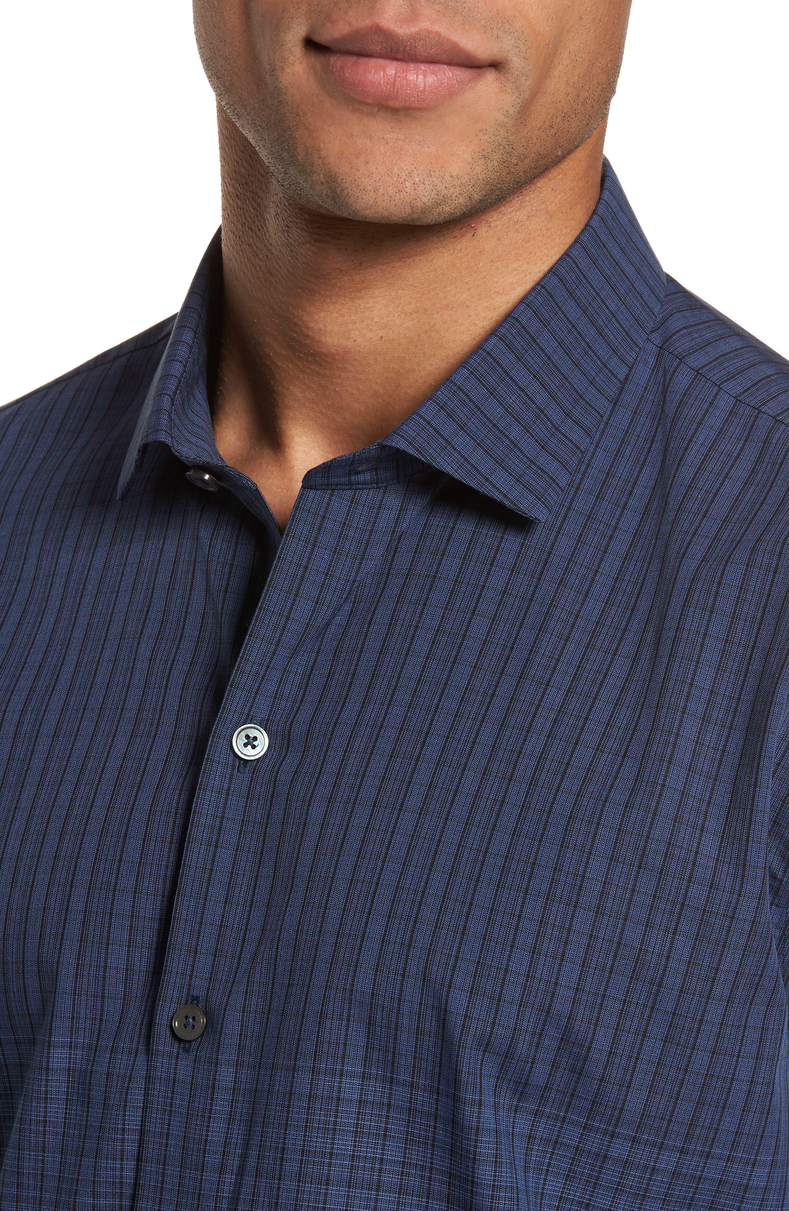 Wein Slim Fit Check Sport Shirt,                             Alternate thumbnail 4, color,                             Dark Blue