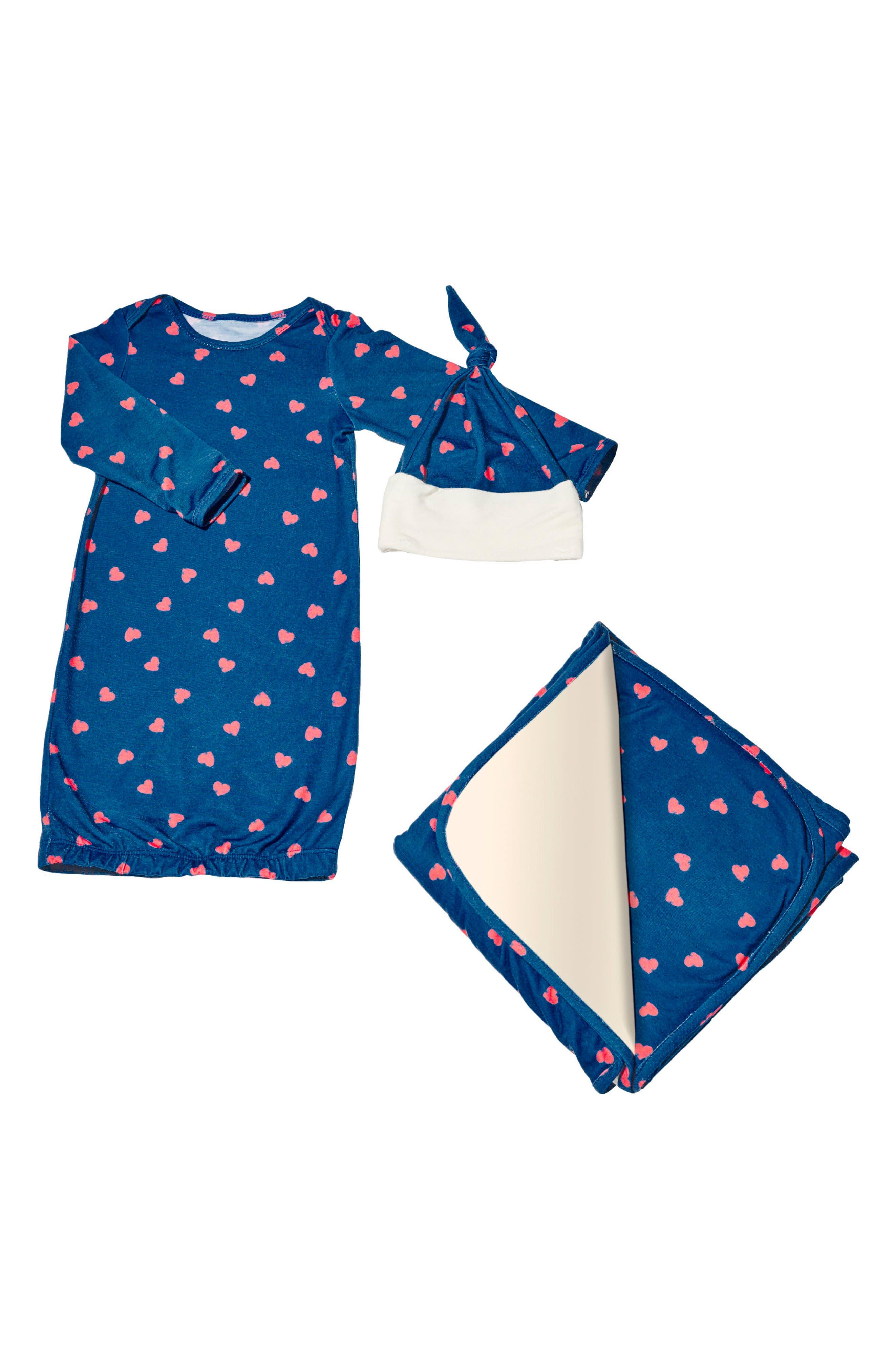 Gown, Blanket & Hat Set,                         Main,                         color, Hearts