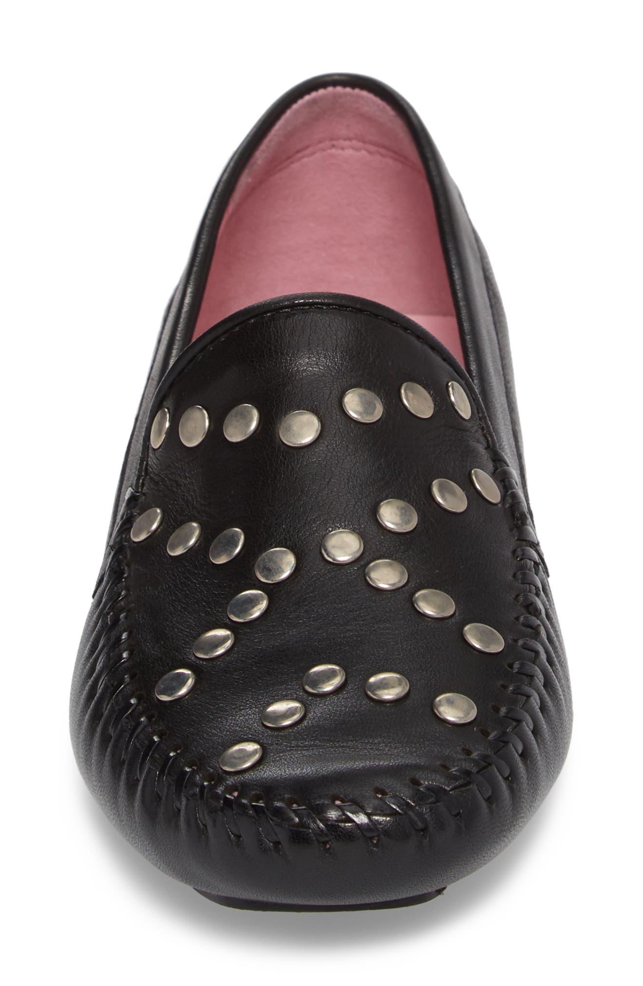 Tinae Studded Loafer,                             Alternate thumbnail 4, color,                             Black Leather