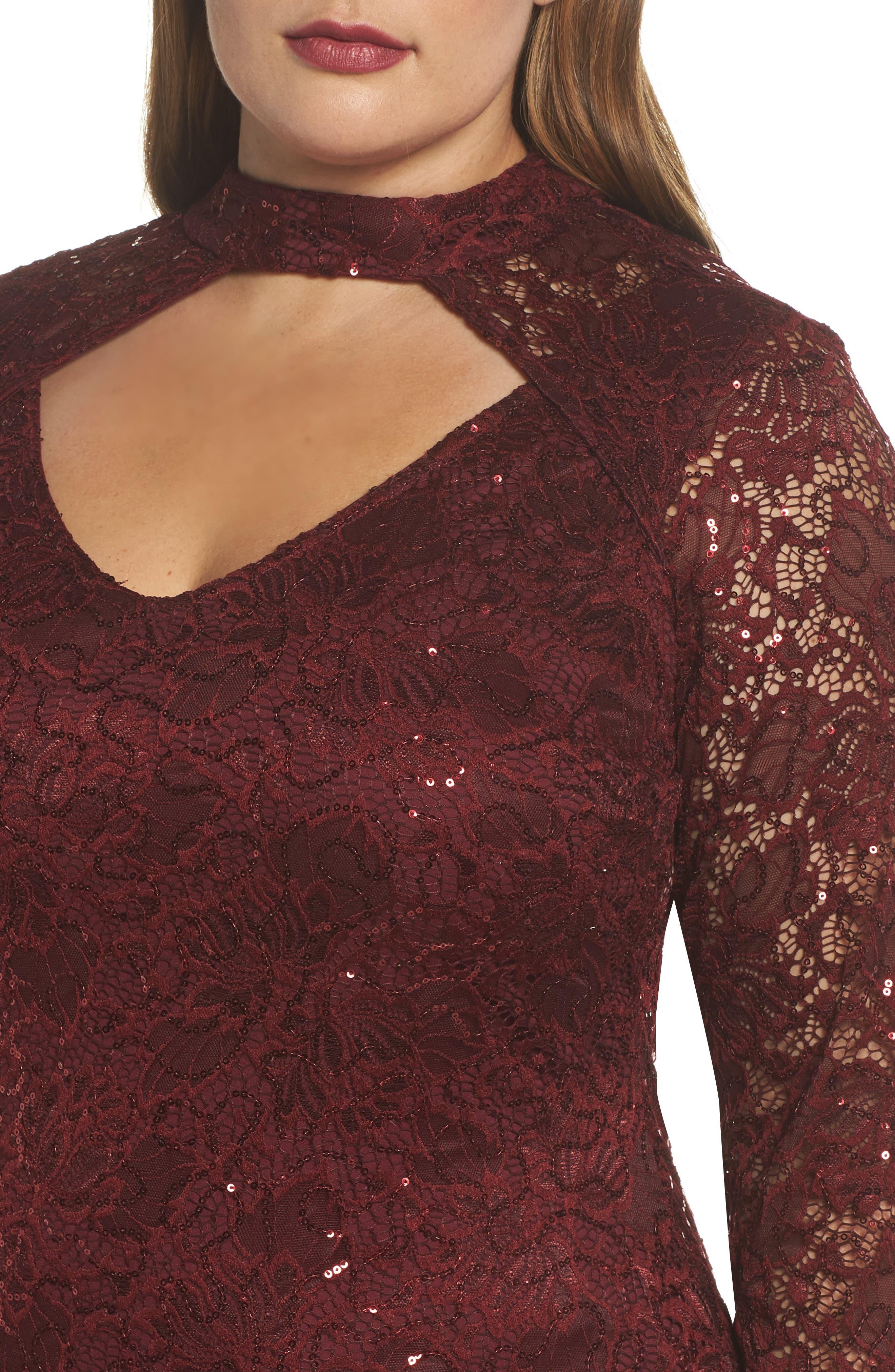 Alternate Image 4  - Marina Choker Neck Lace Sheath Dress (Plus Size)