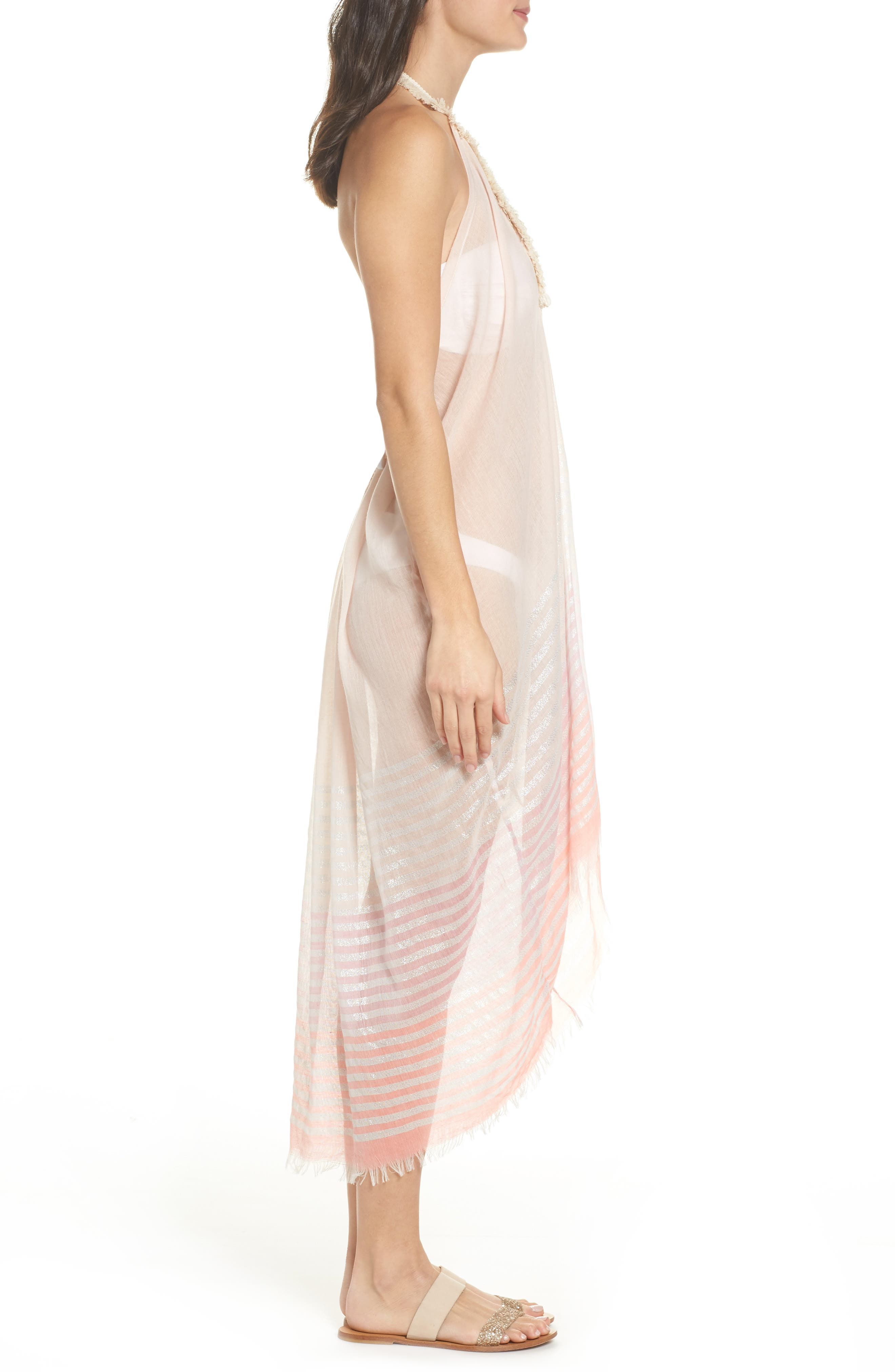 Halter Cover-Up Dress,                             Alternate thumbnail 3, color,                             Coral