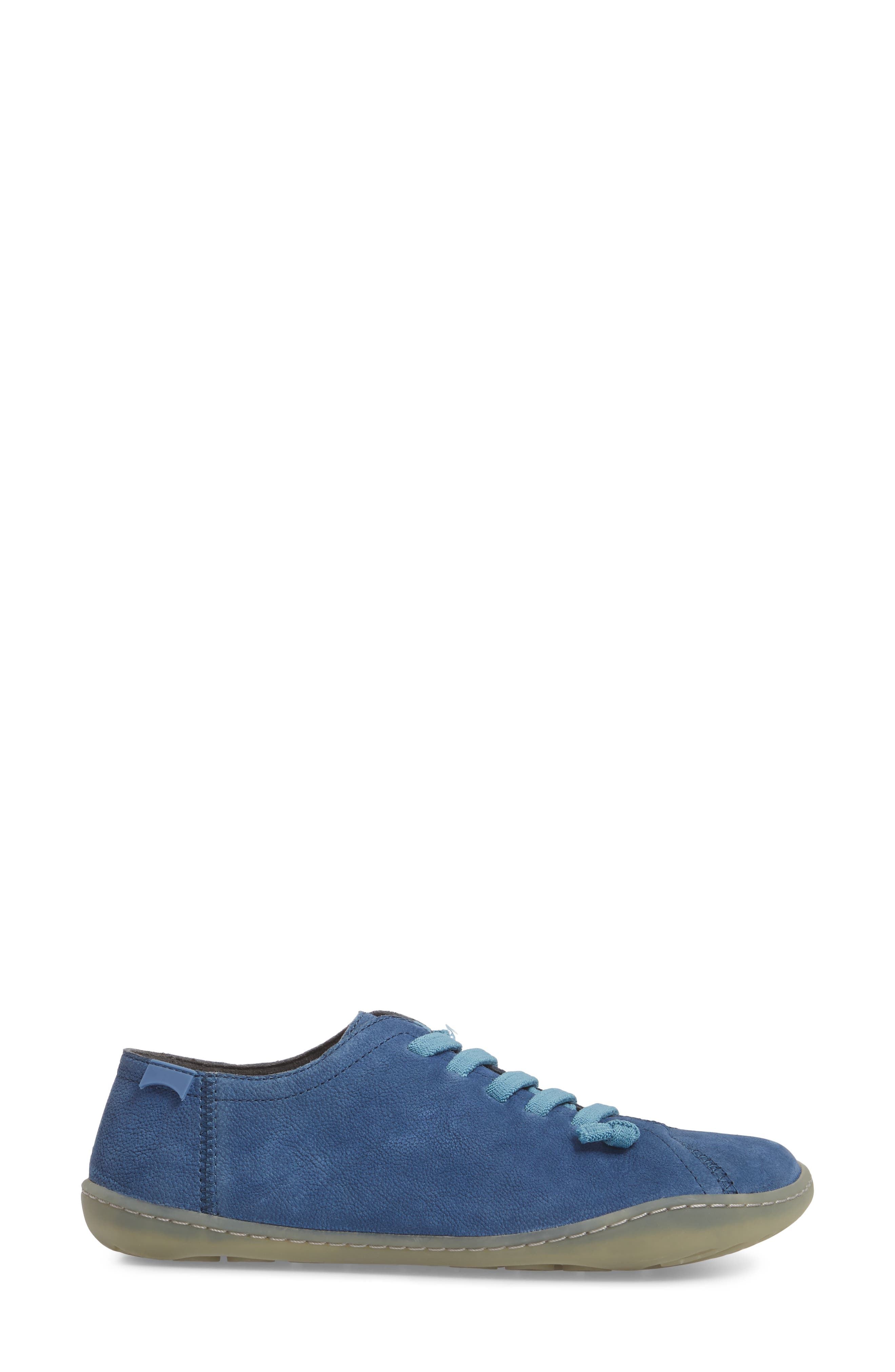'Peu Cami' Leather Sneaker,                             Alternate thumbnail 3, color,                             Medium Blue Suede