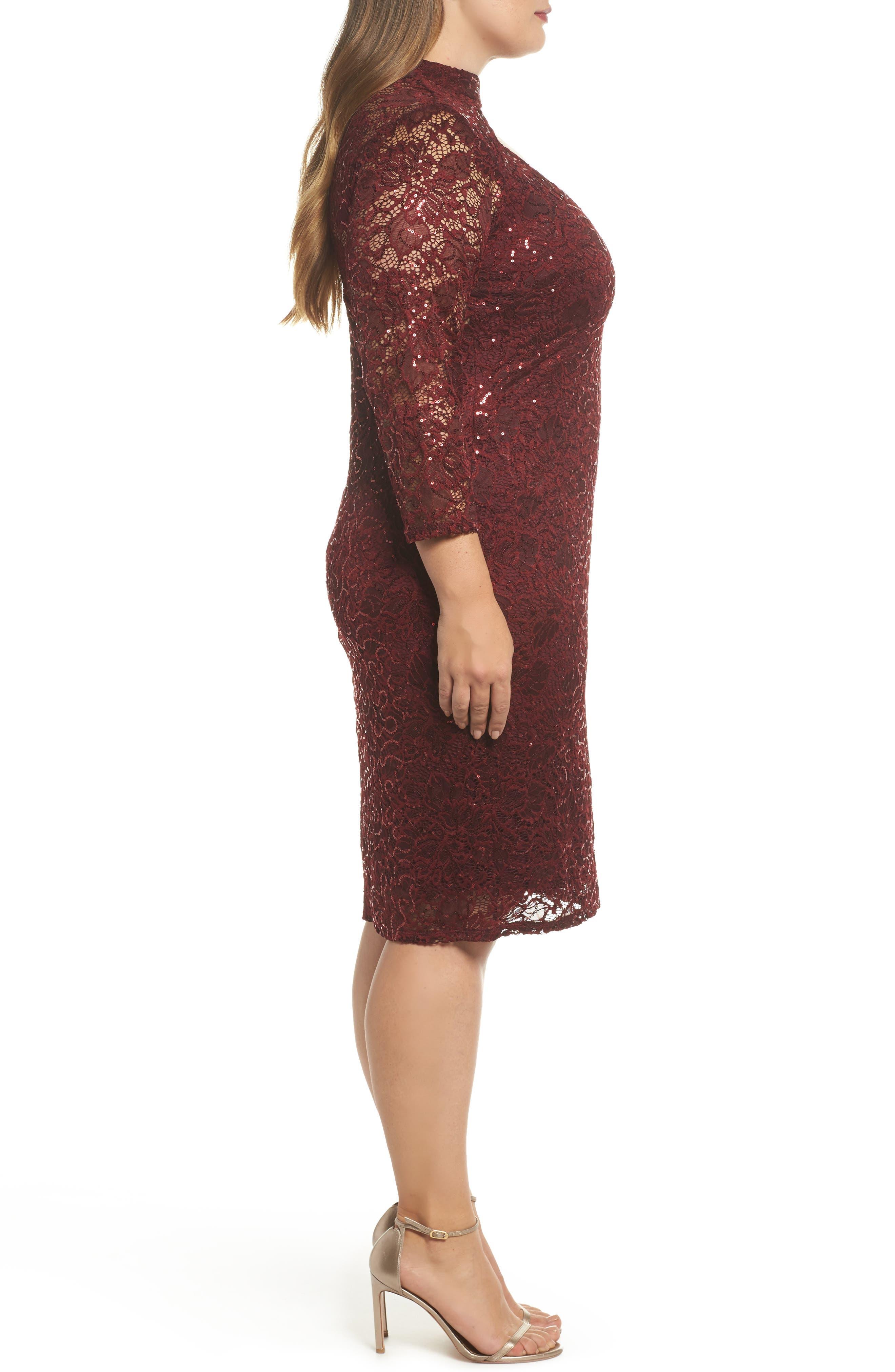Alternate Image 3  - Marina Choker Neck Lace Sheath Dress (Plus Size)