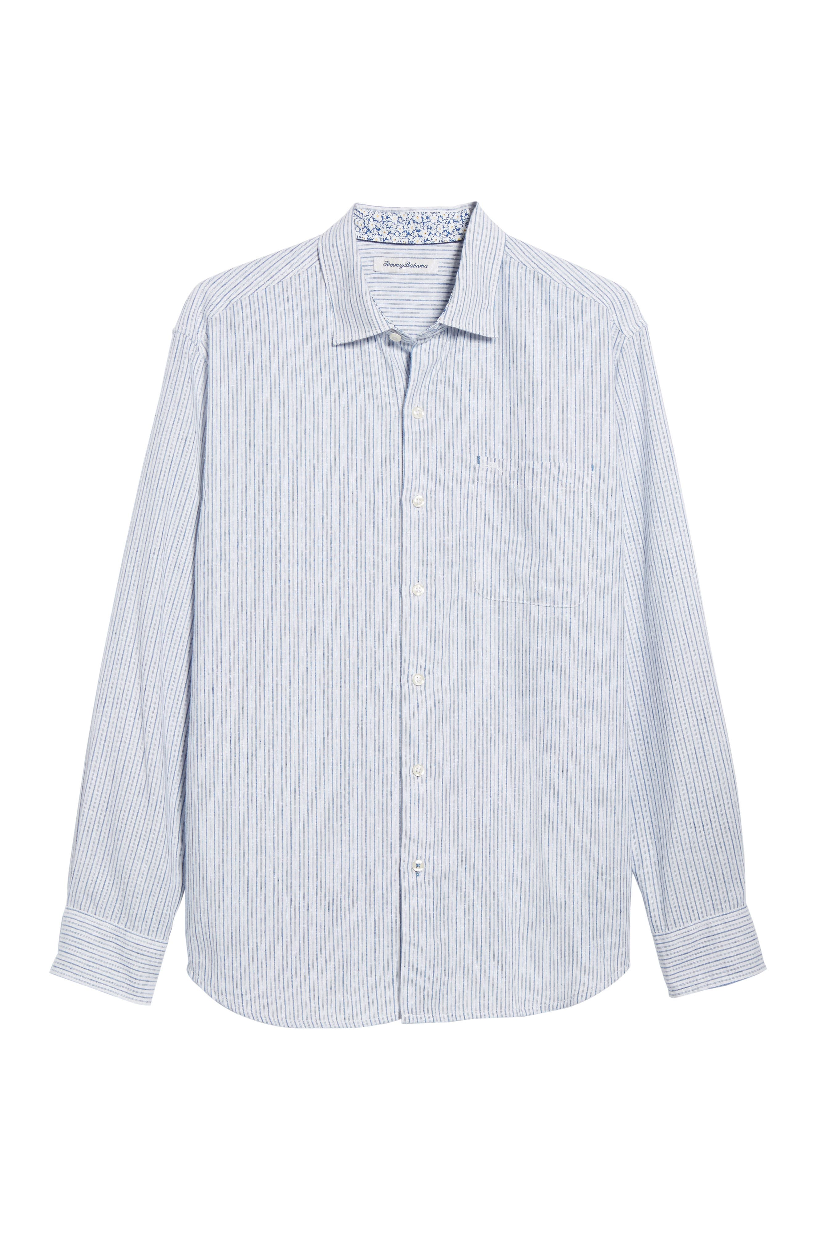 Bungalow Stripe Regular Fit Linen Blend Sport Shirt,                             Alternate thumbnail 6, color,                             Galaxy Blue