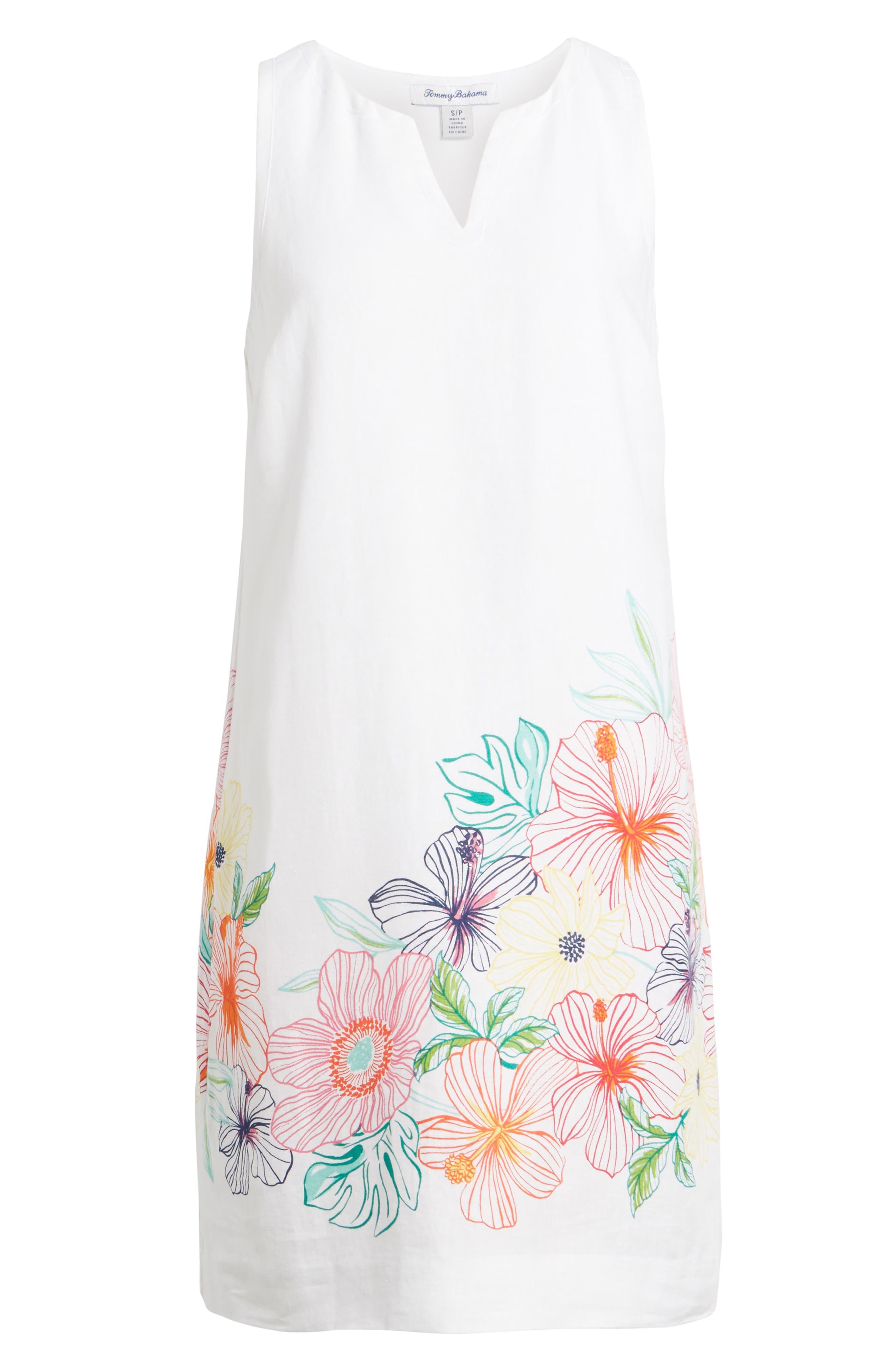 Hibiscus Sketch Shift Dress,                             Alternate thumbnail 6, color,                             White