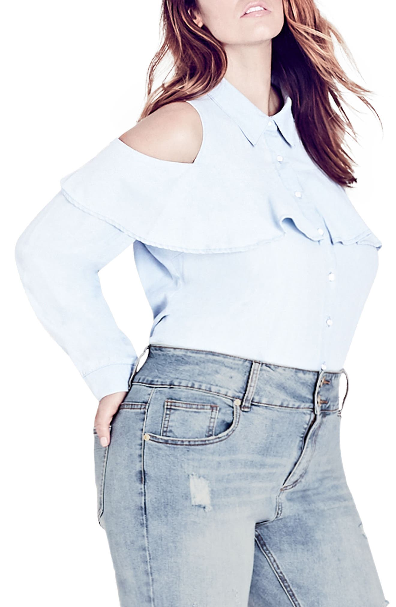 Alternate Image 1 Selected - City Chic Denim Frill Shirt (Plus Size)