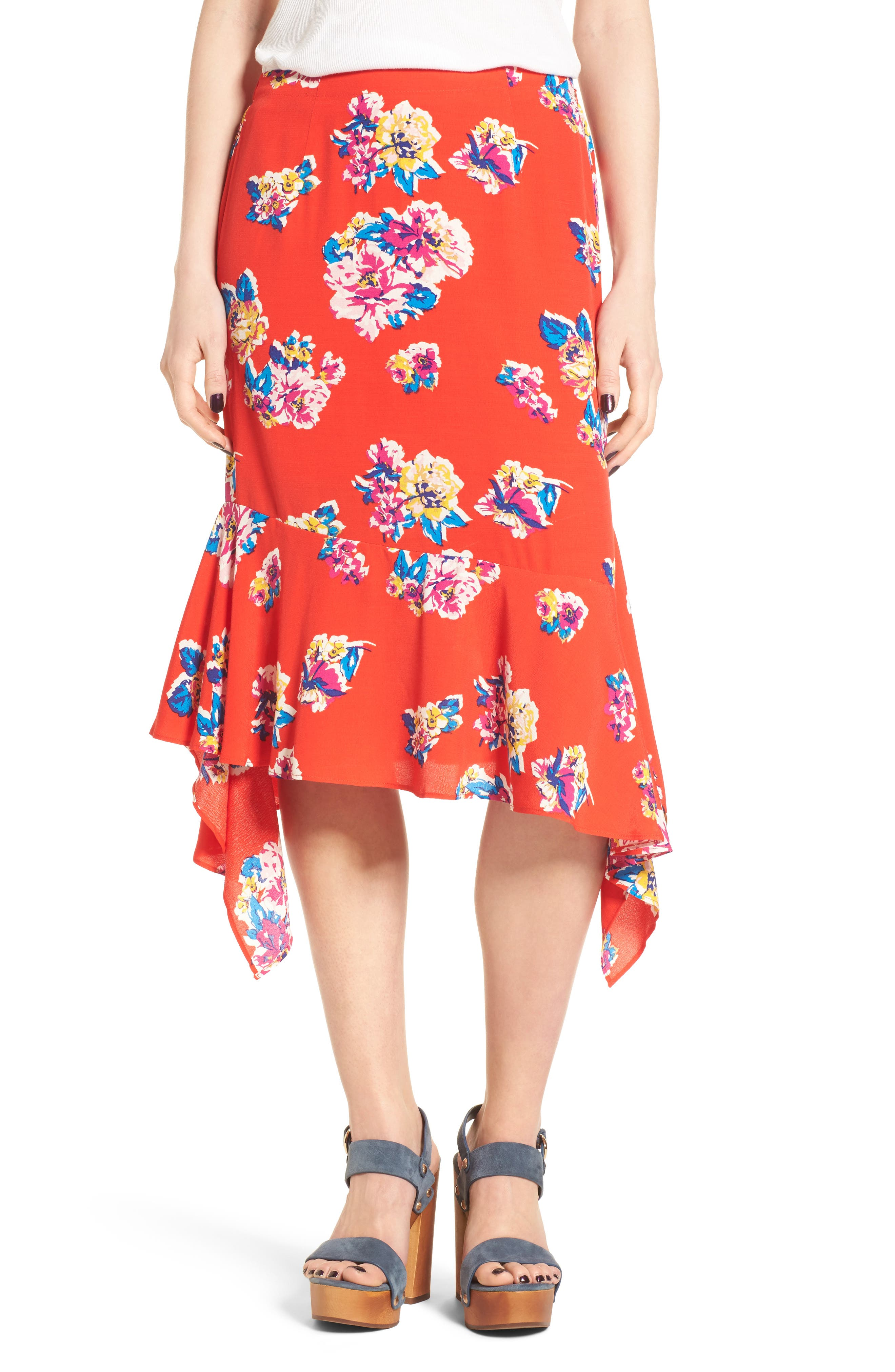 Floral Ruffle Hem Skirt,                         Main,                         color, Red Field Bold Bloom
