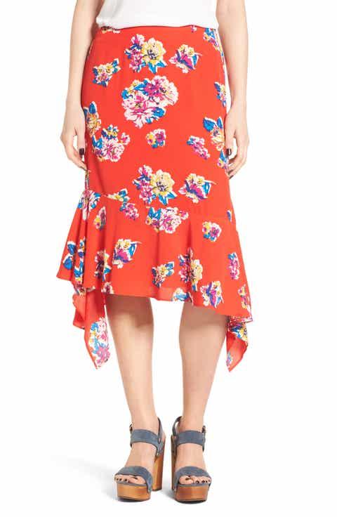 BP. Floral Ruffle Hem Skirt