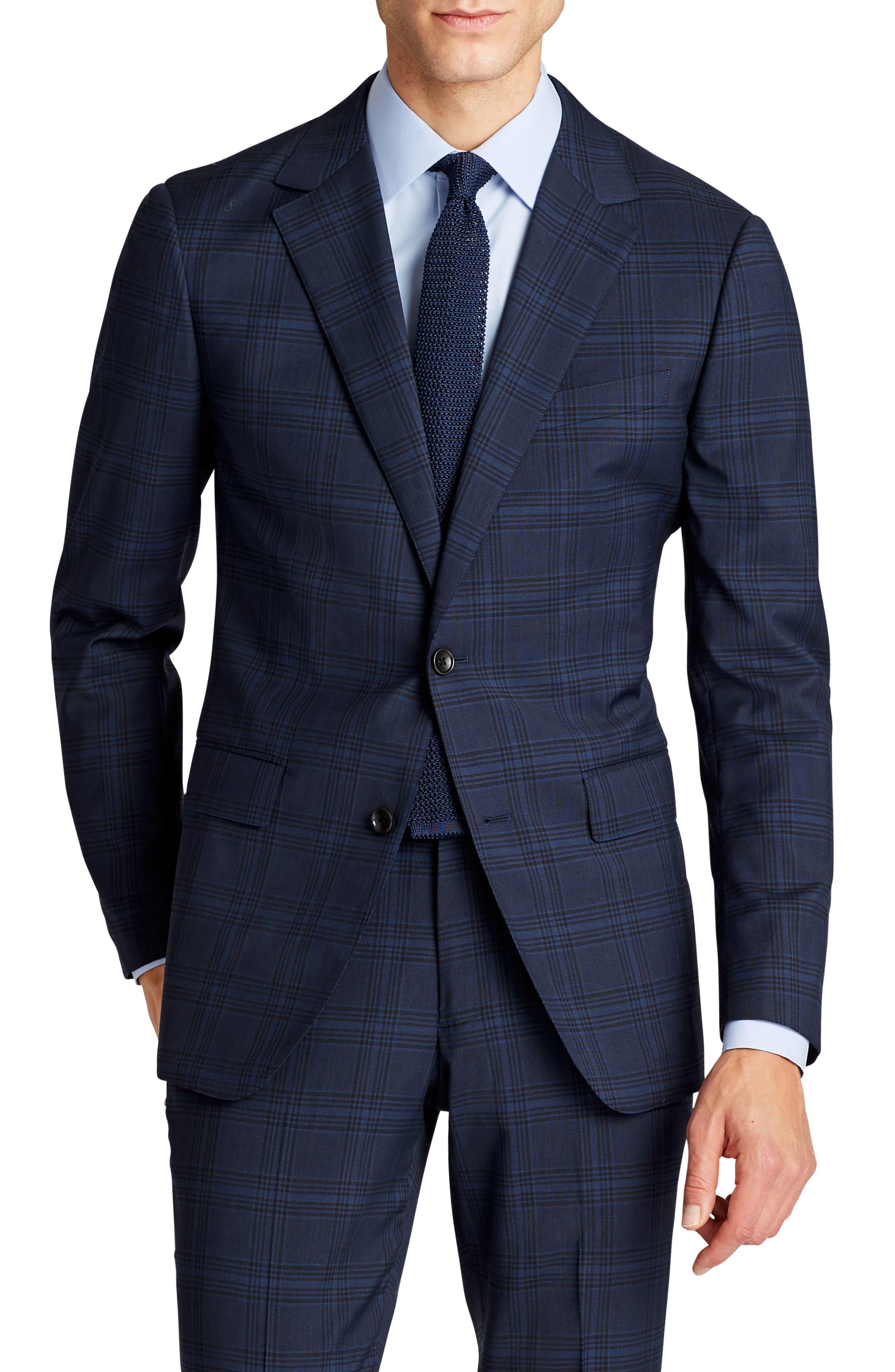 Jetsetter Trim Fit Stretch Plaid Wool Blend Suit Jacket,                         Main,                         color, Navy Plaid
