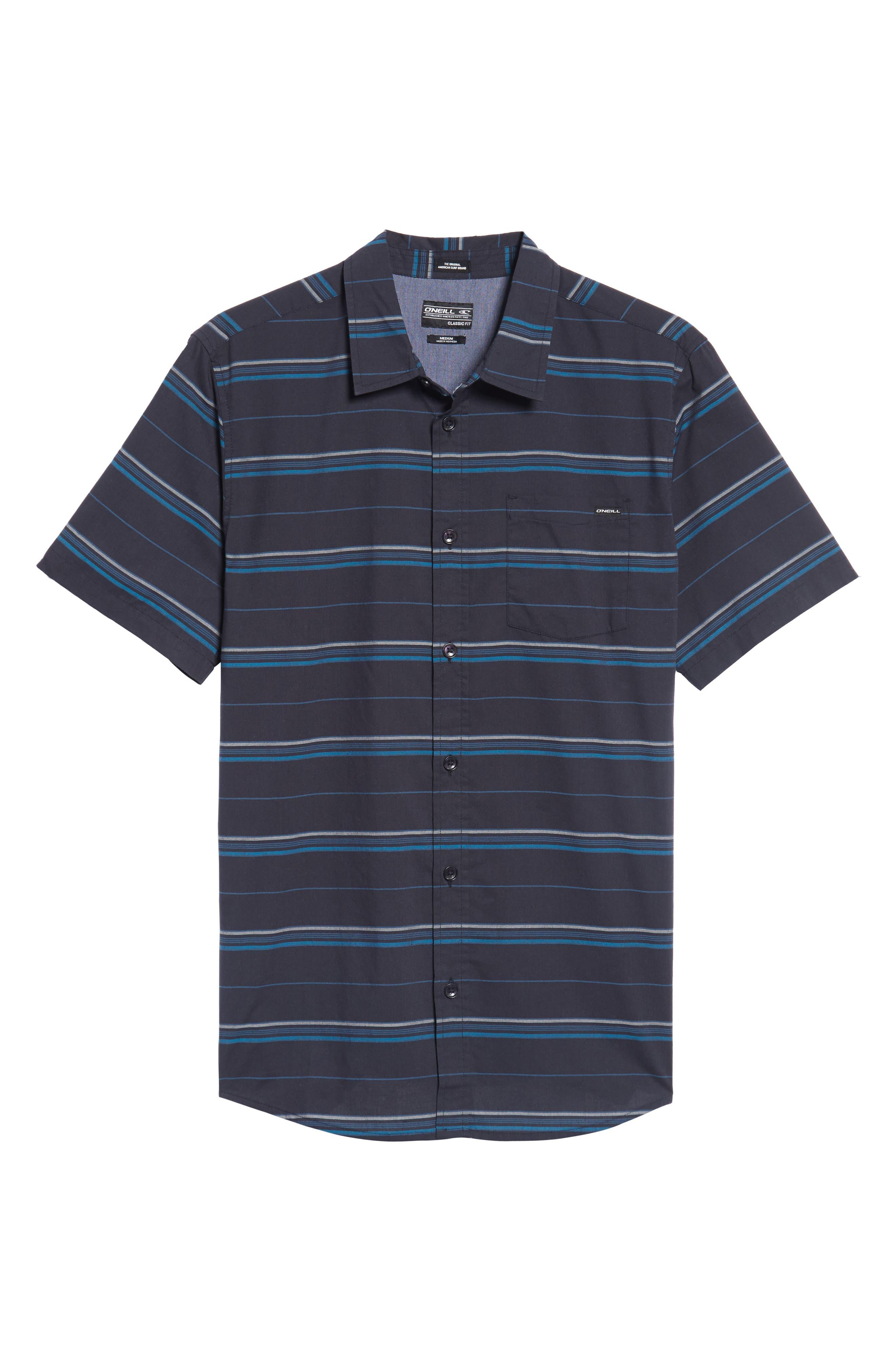 Striped Woven Shirt,                             Alternate thumbnail 6, color,                             Navy