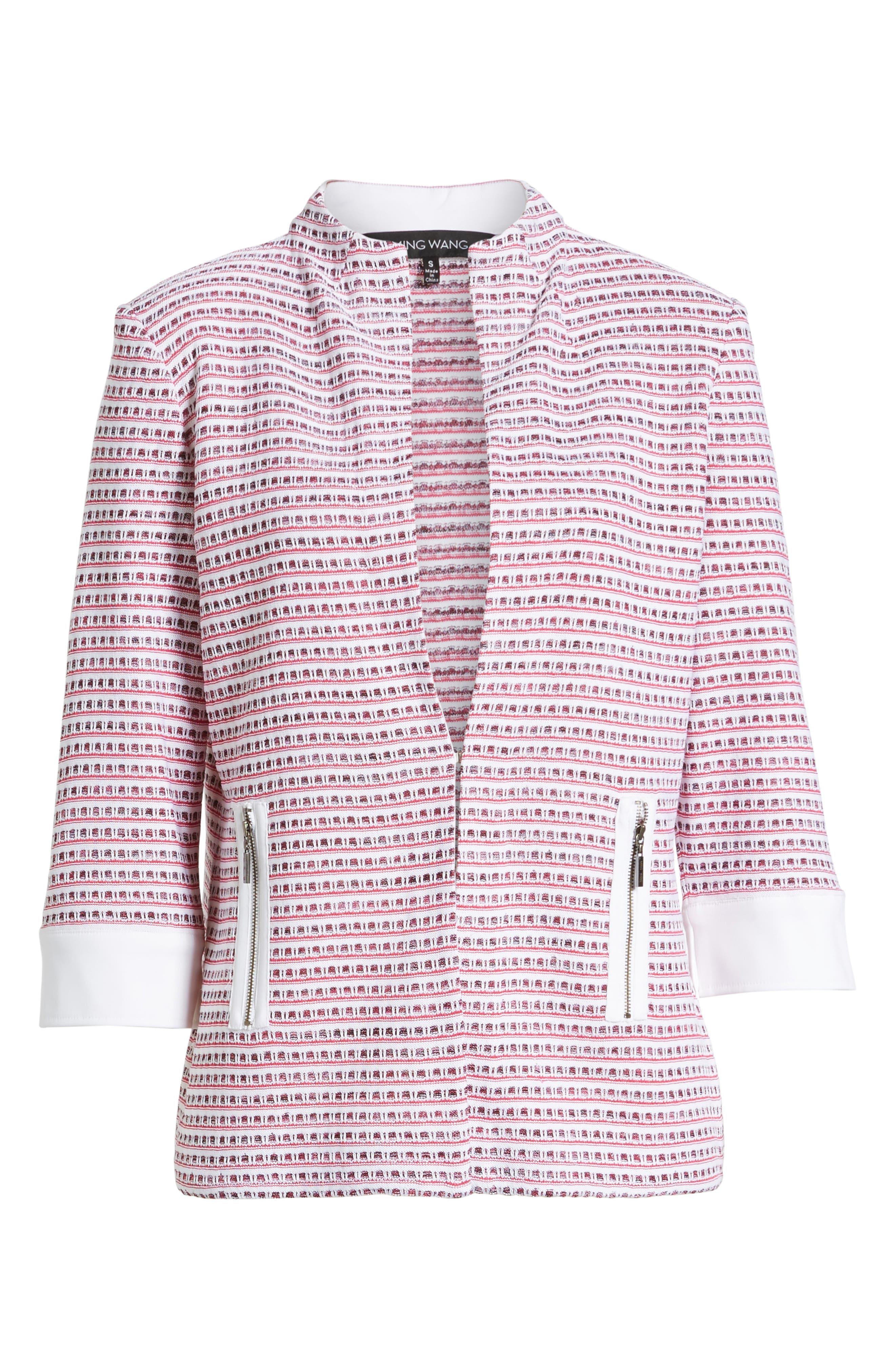 Tweed Jacket,                             Alternate thumbnail 6, color,                             White/ Black/ Dahlia