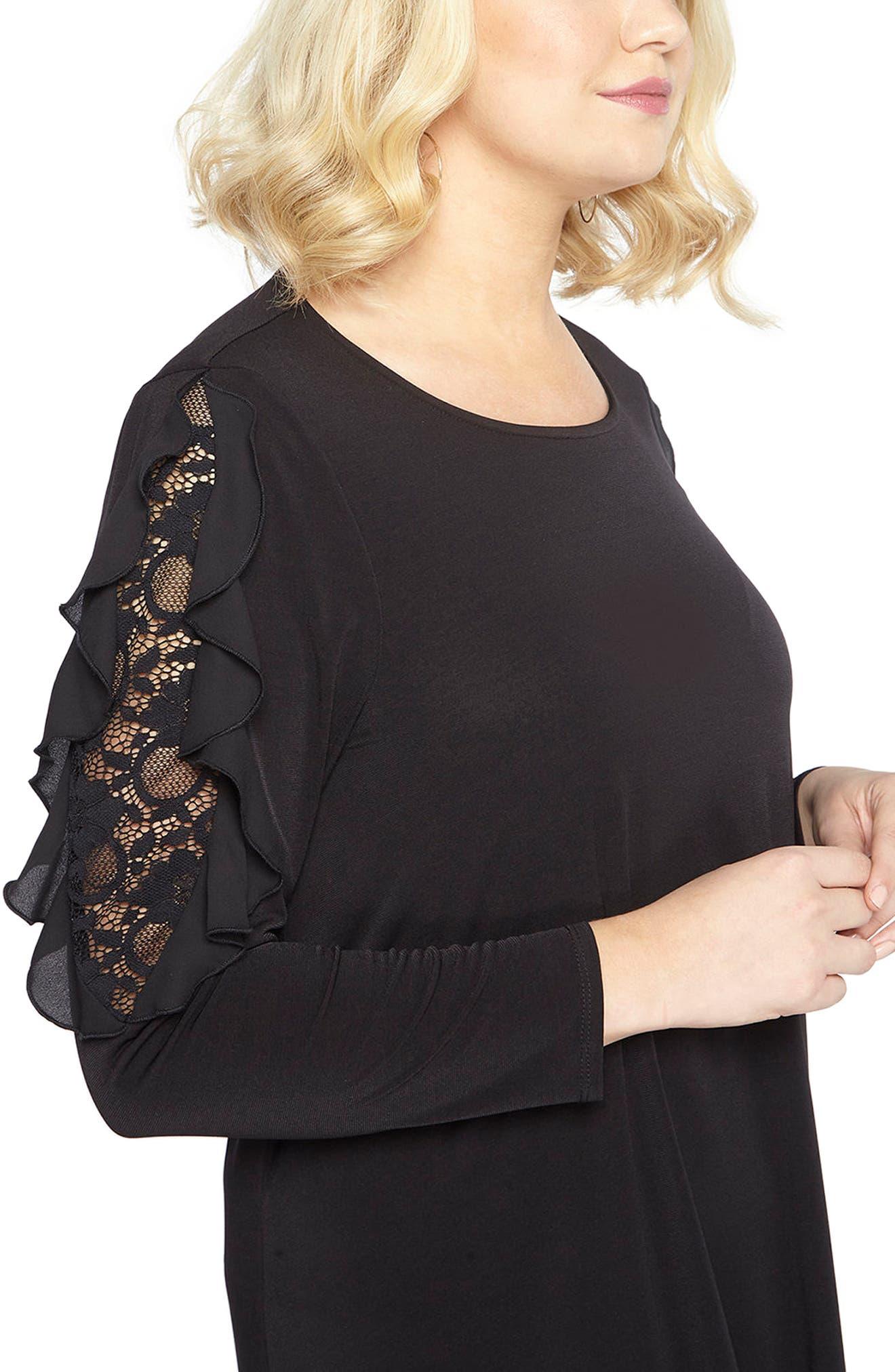 Lace Inset Shift Dress,                             Alternate thumbnail 4, color,                             Black