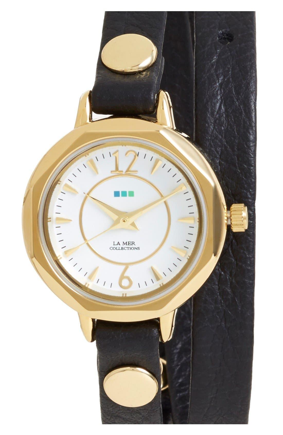 'Del Mar' Leather Strap Wrap Watch, 19mm,                         Main,                         color, Black