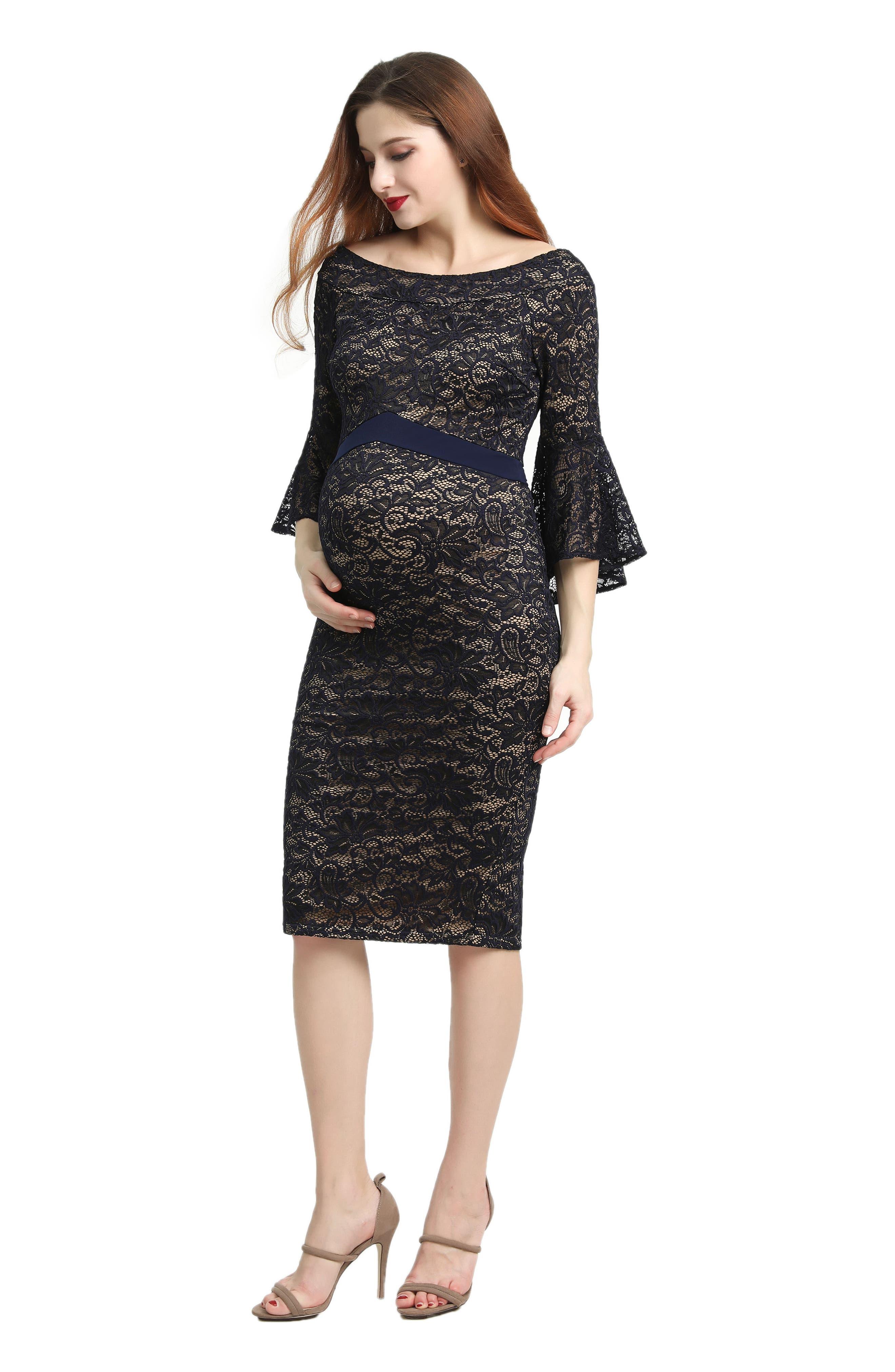 Kimi & Kai Lena Maternity Body-Con Dress,                             Alternate thumbnail 3, color,                             Navy