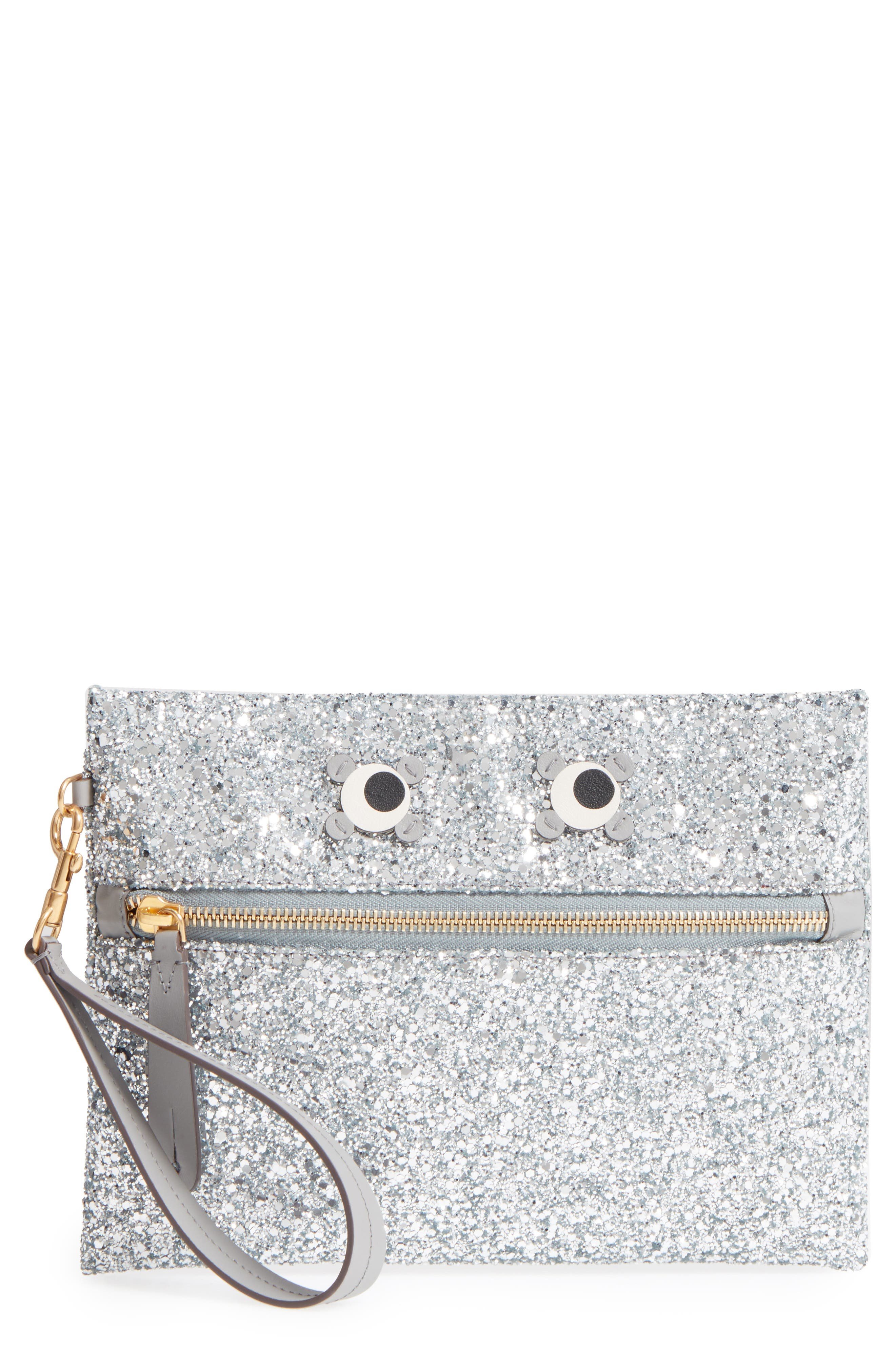 Eyes Circulus Glitter Pouch,                             Main thumbnail 1, color,                             Silver
