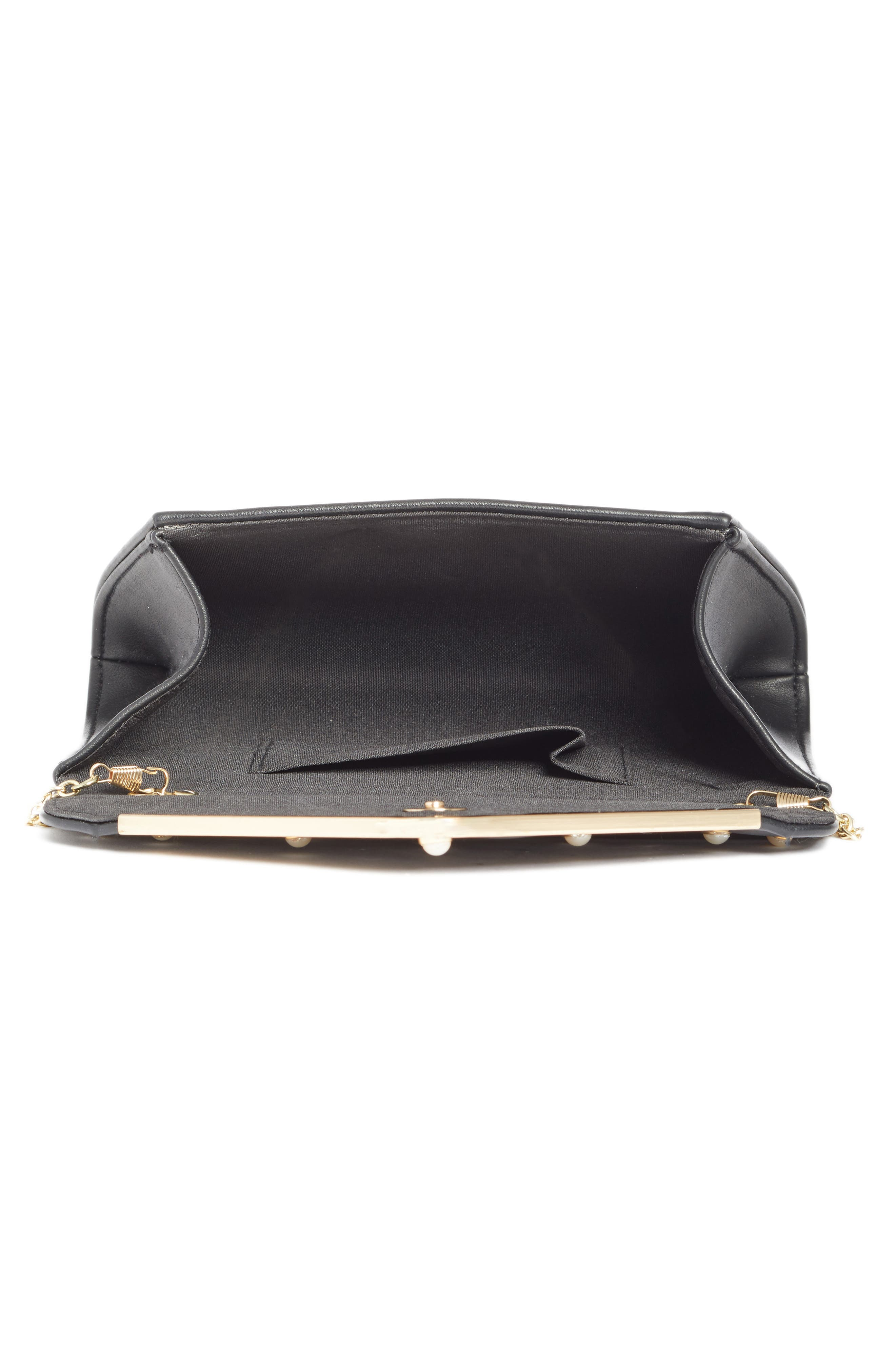 Studded Faux Leather Clutch,                             Alternate thumbnail 3, color,                             Black