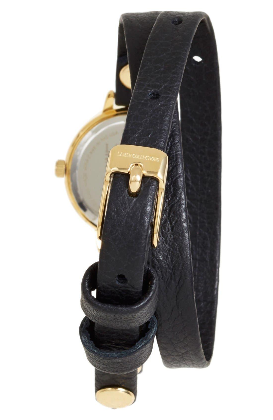 'Del Mar' Leather Strap Wrap Watch, 19mm,                             Alternate thumbnail 2, color,                             Black