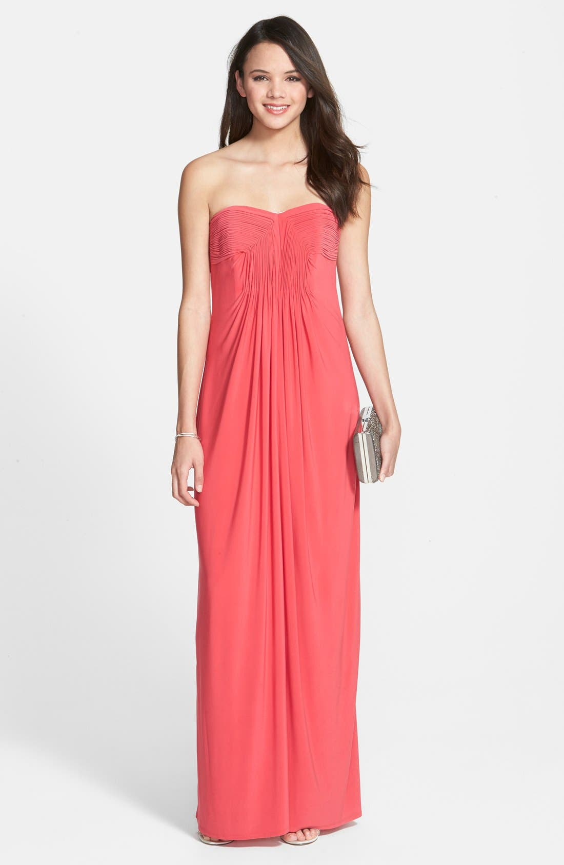Main Image - Laundry by Shelli Segal Pleated Matte Jersey Gown