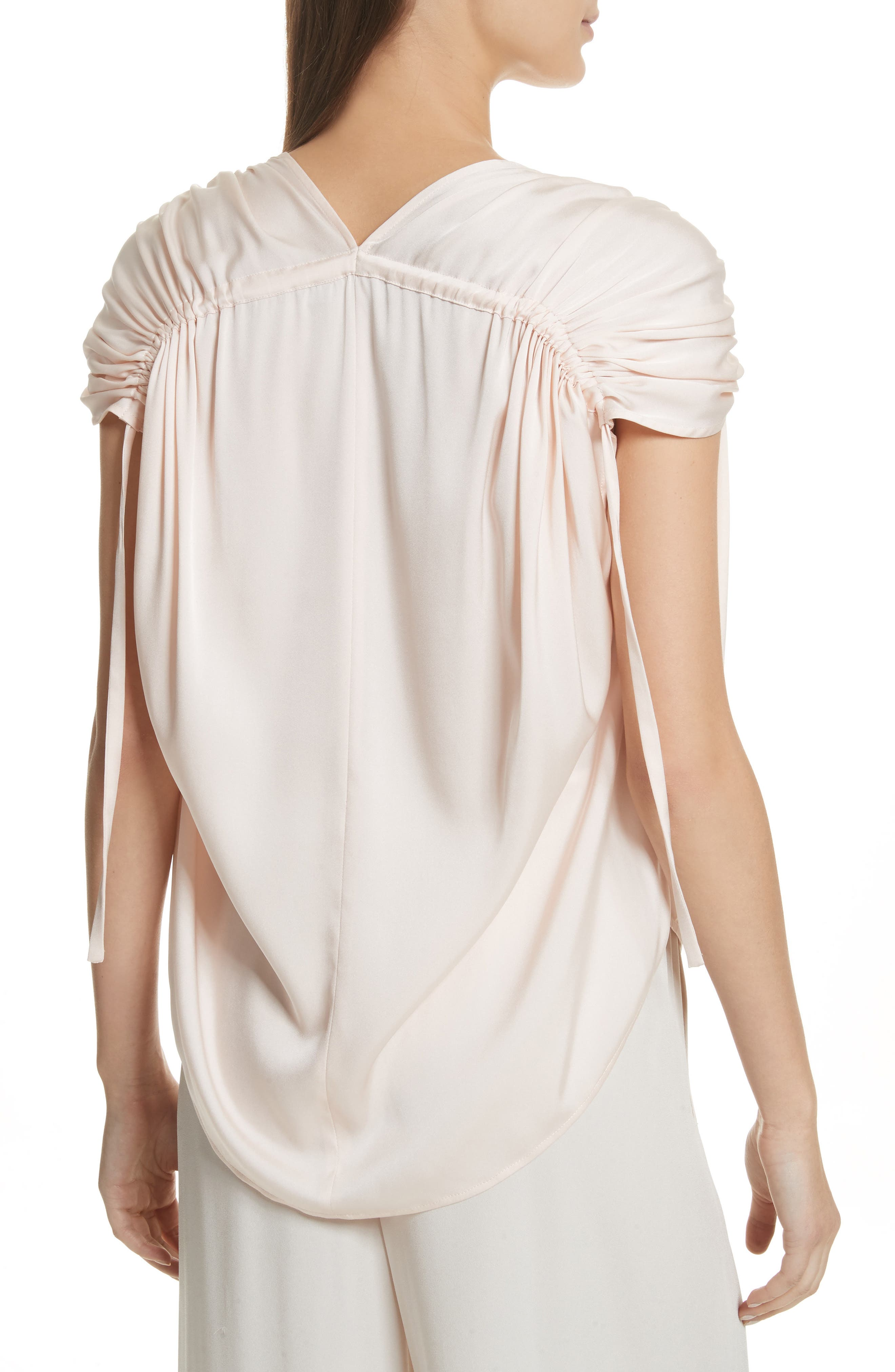 Ruched Silk Top,                             Alternate thumbnail 2, color,                             Rosewater