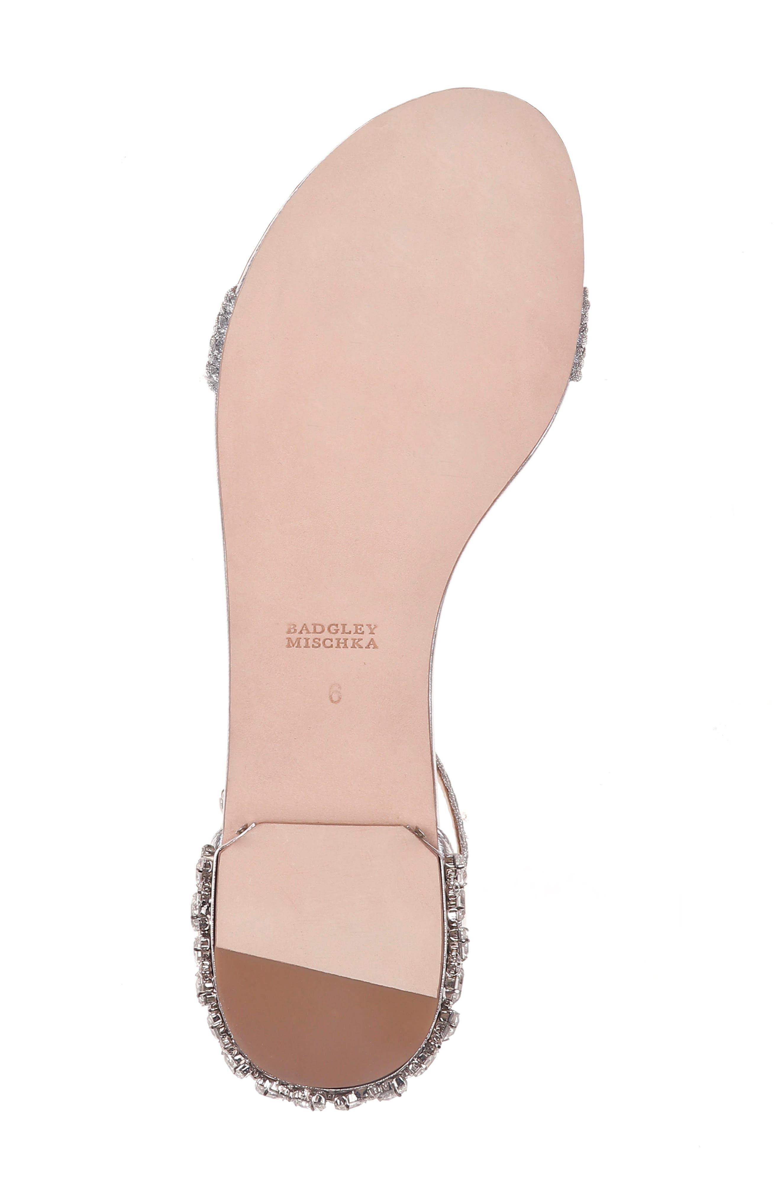 Steffie Ankle Strap Sandal,                             Alternate thumbnail 6, color,                             Silver Leather