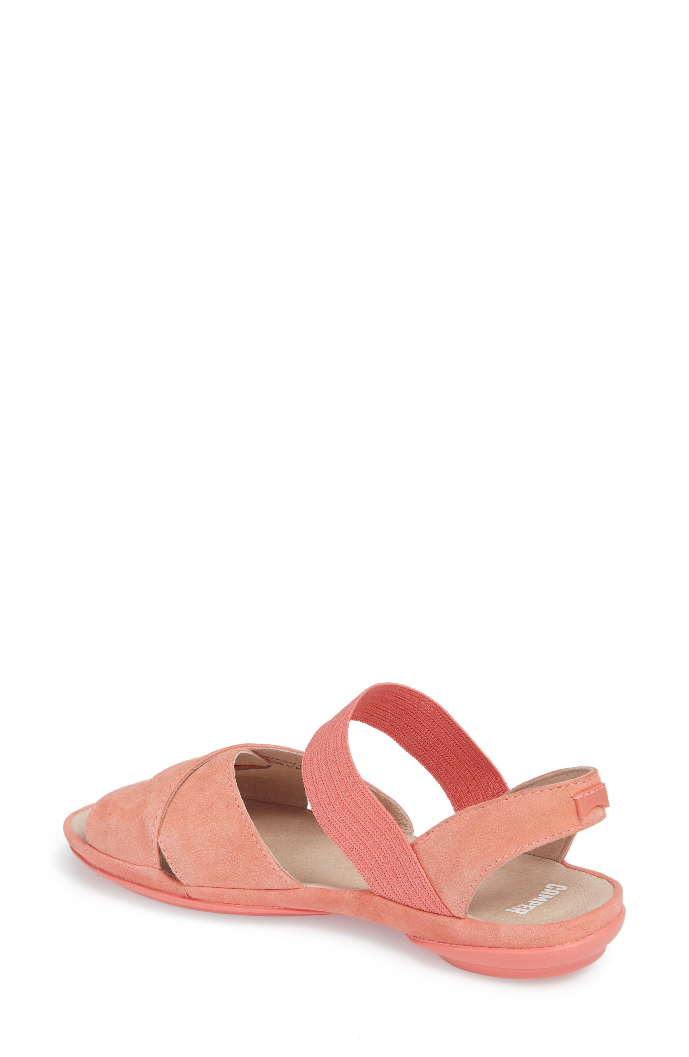 Right Nina Flat Cross Strap Sandal,                             Alternate thumbnail 2, color,                             Medium Pink Leather