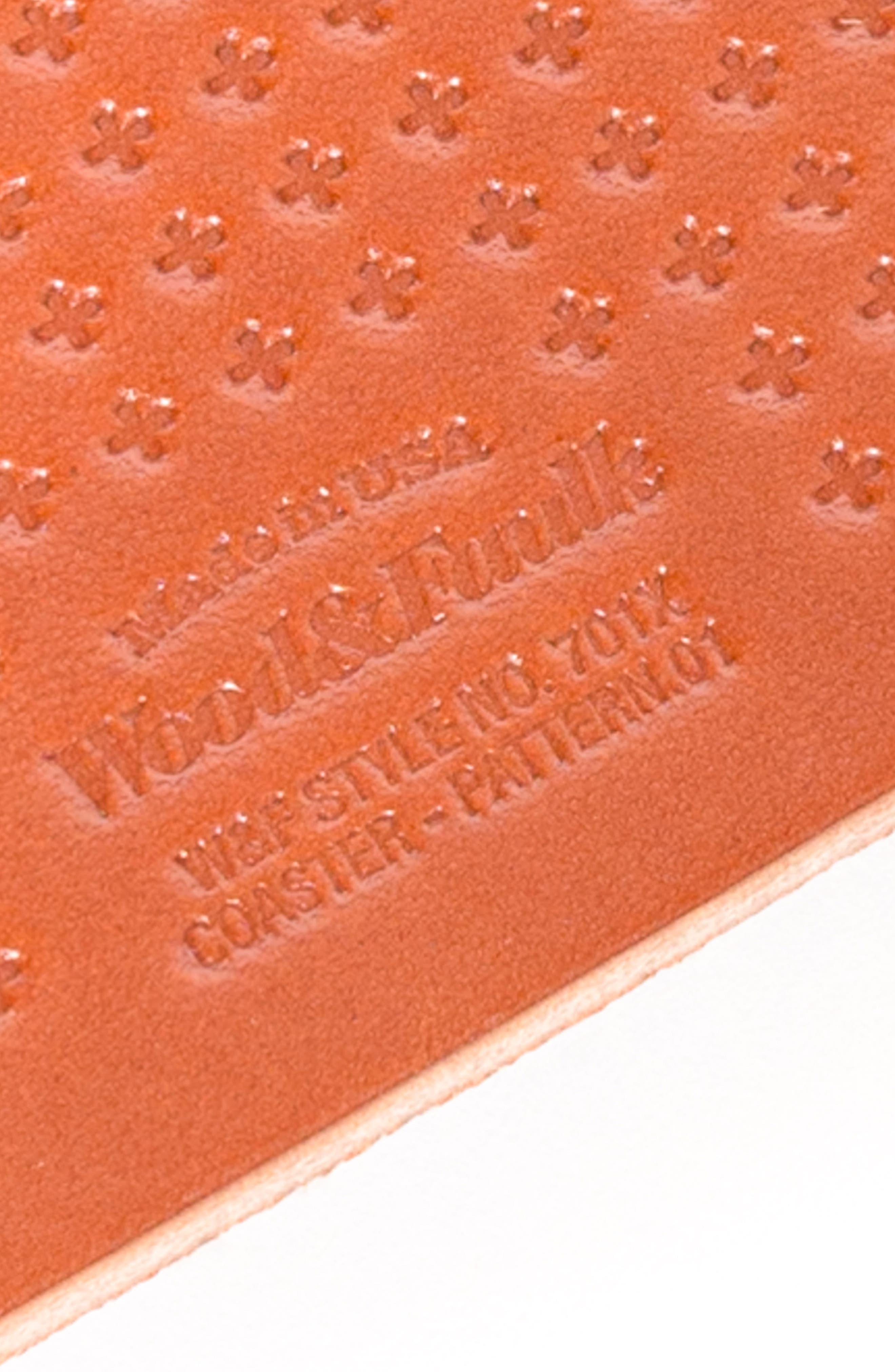 Alternate Image 2  - Wood&Faulk Cross Pattern Leather Coaster Set