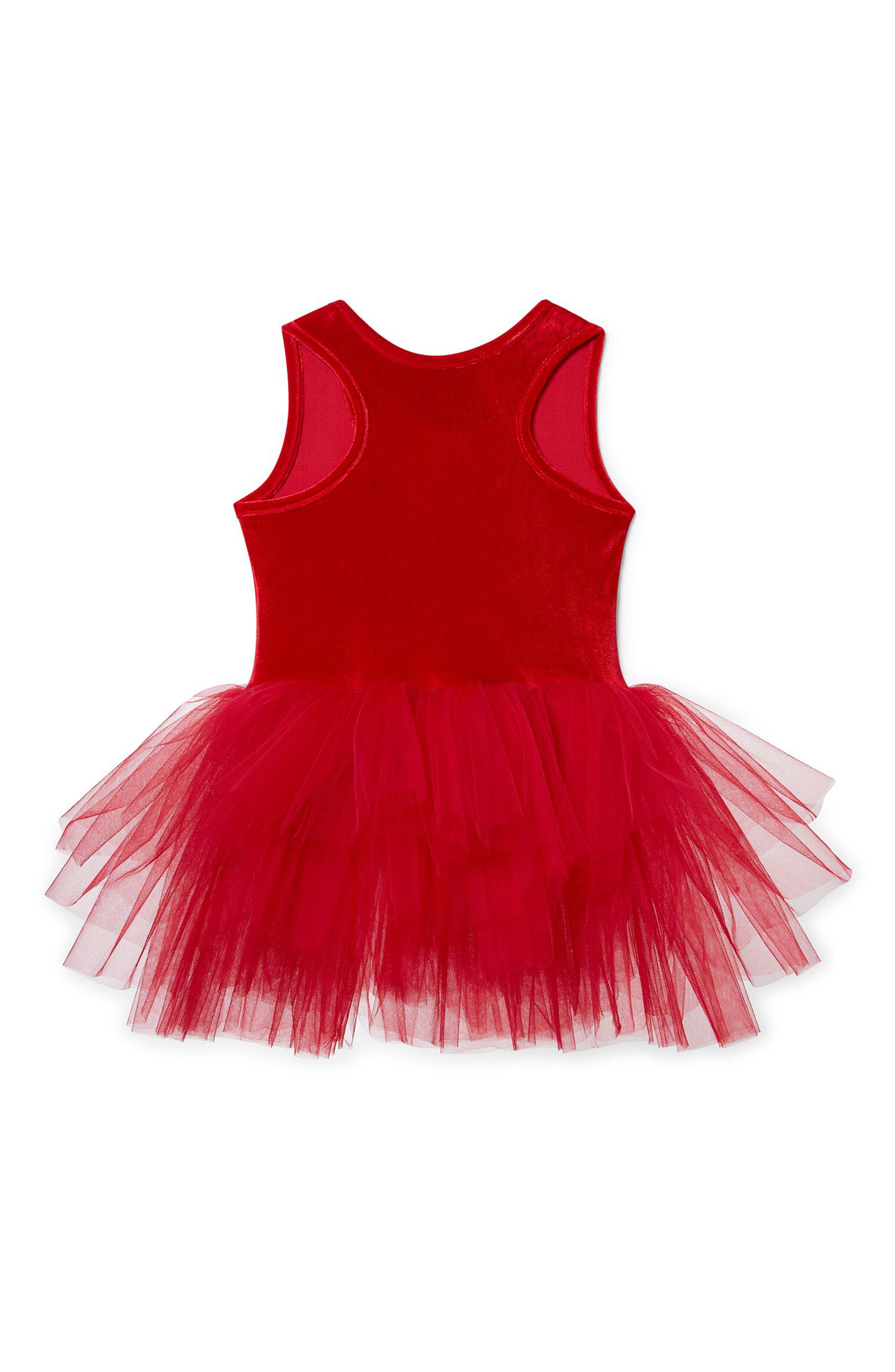 Velvet & Tulle Tutu Dress,                             Alternate thumbnail 2, color,                             Red Velvet