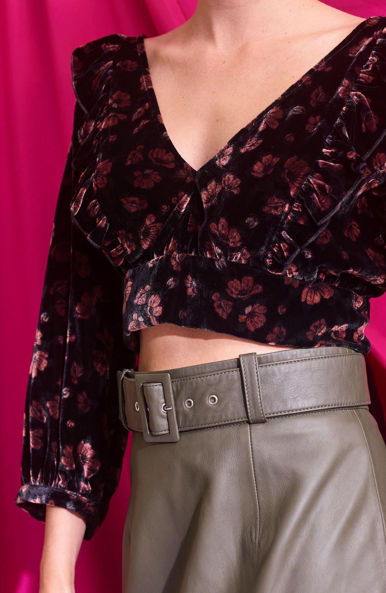 Floral Velvet Plunge Crop Top,                             Alternate thumbnail 5, color,                             Black Multi
