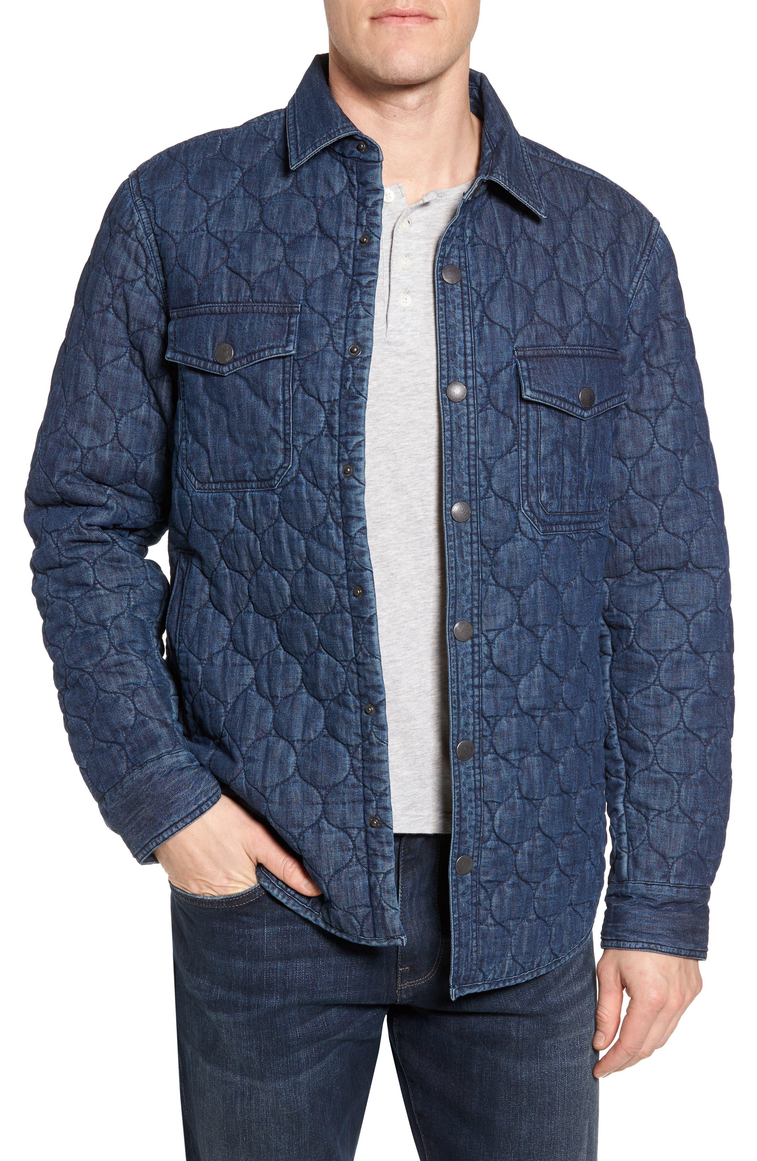 Quilted Denim Shirt Jacket,                         Main,                         color, Navy Iris Indigo