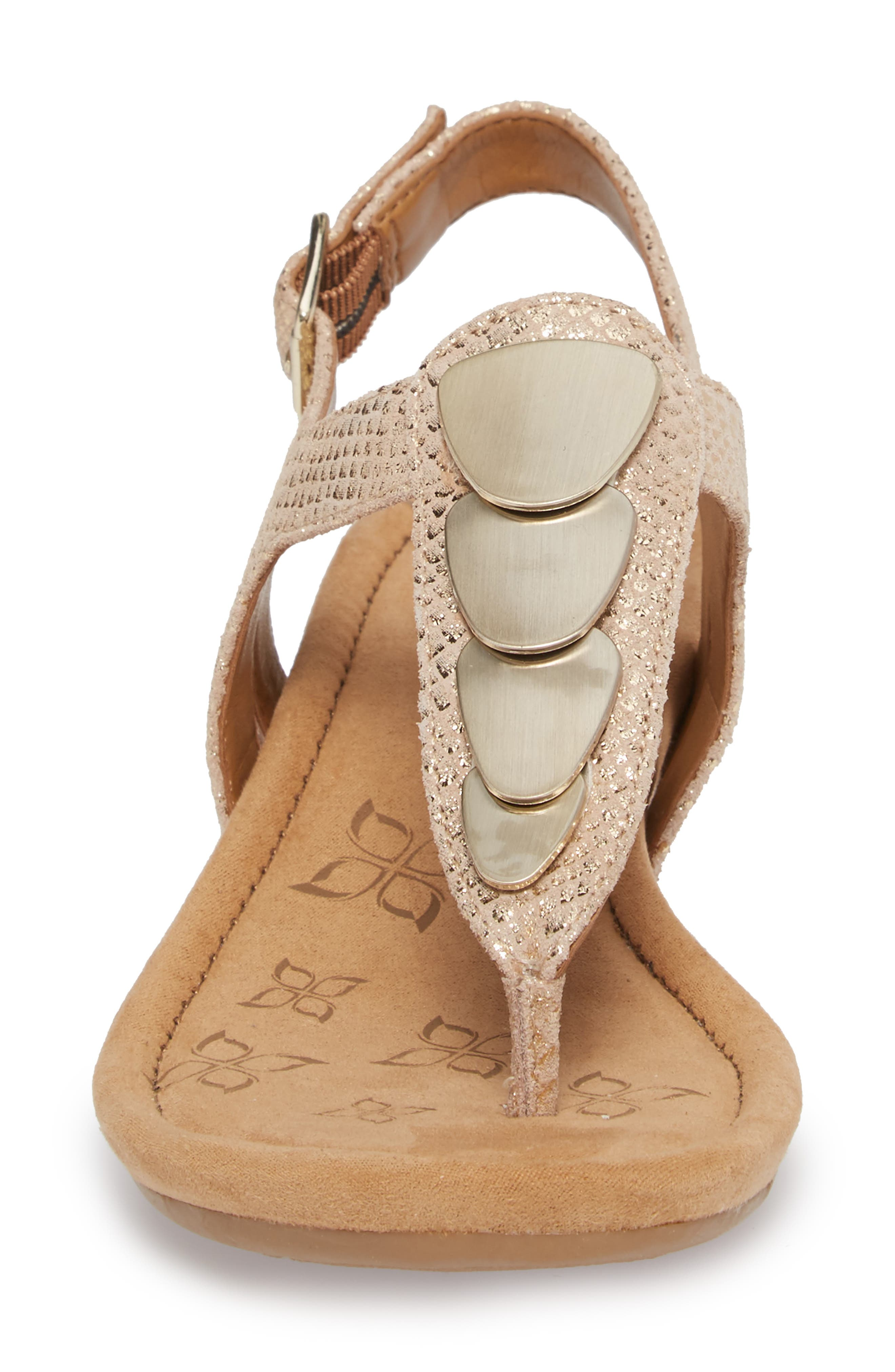 Summit Wedge Sandal,                             Alternate thumbnail 4, color,                             Gold Suede