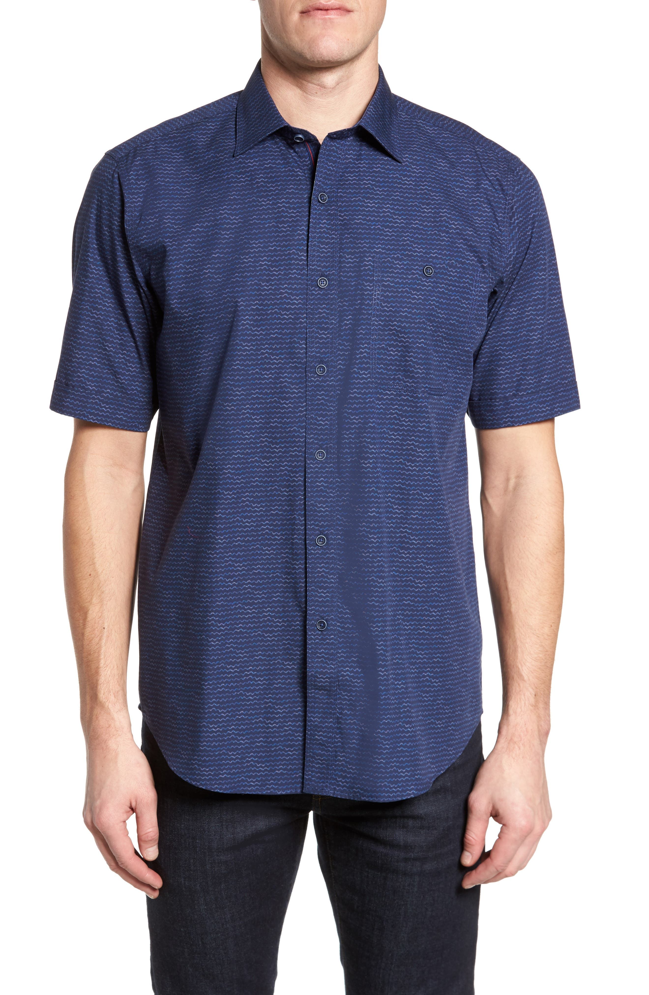 Classic Fit Sport Shirt,                             Main thumbnail 1, color,                             Midnight