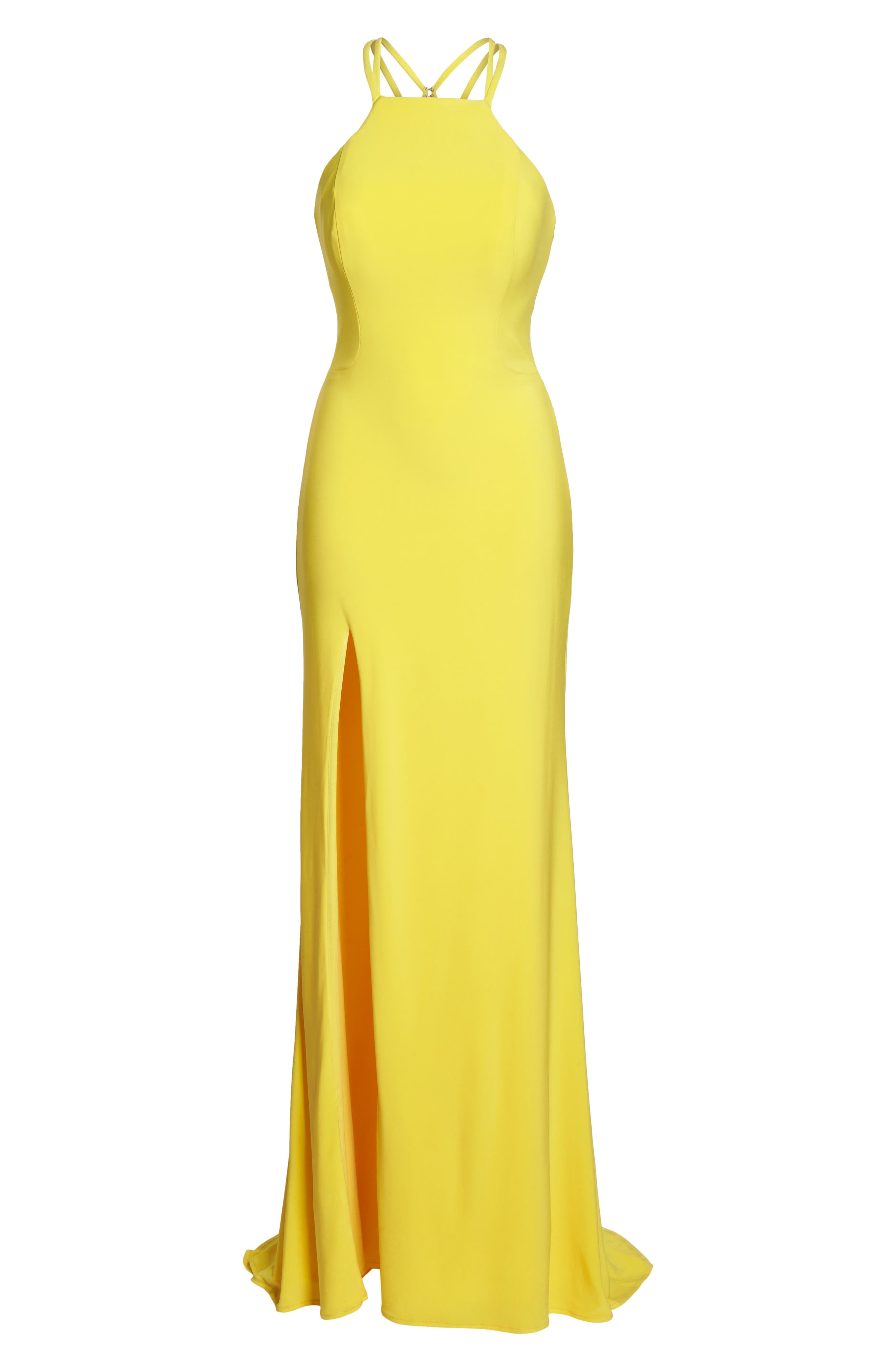 Open Back Jersey Halter Gown,                             Alternate thumbnail 6, color,                             Yellow