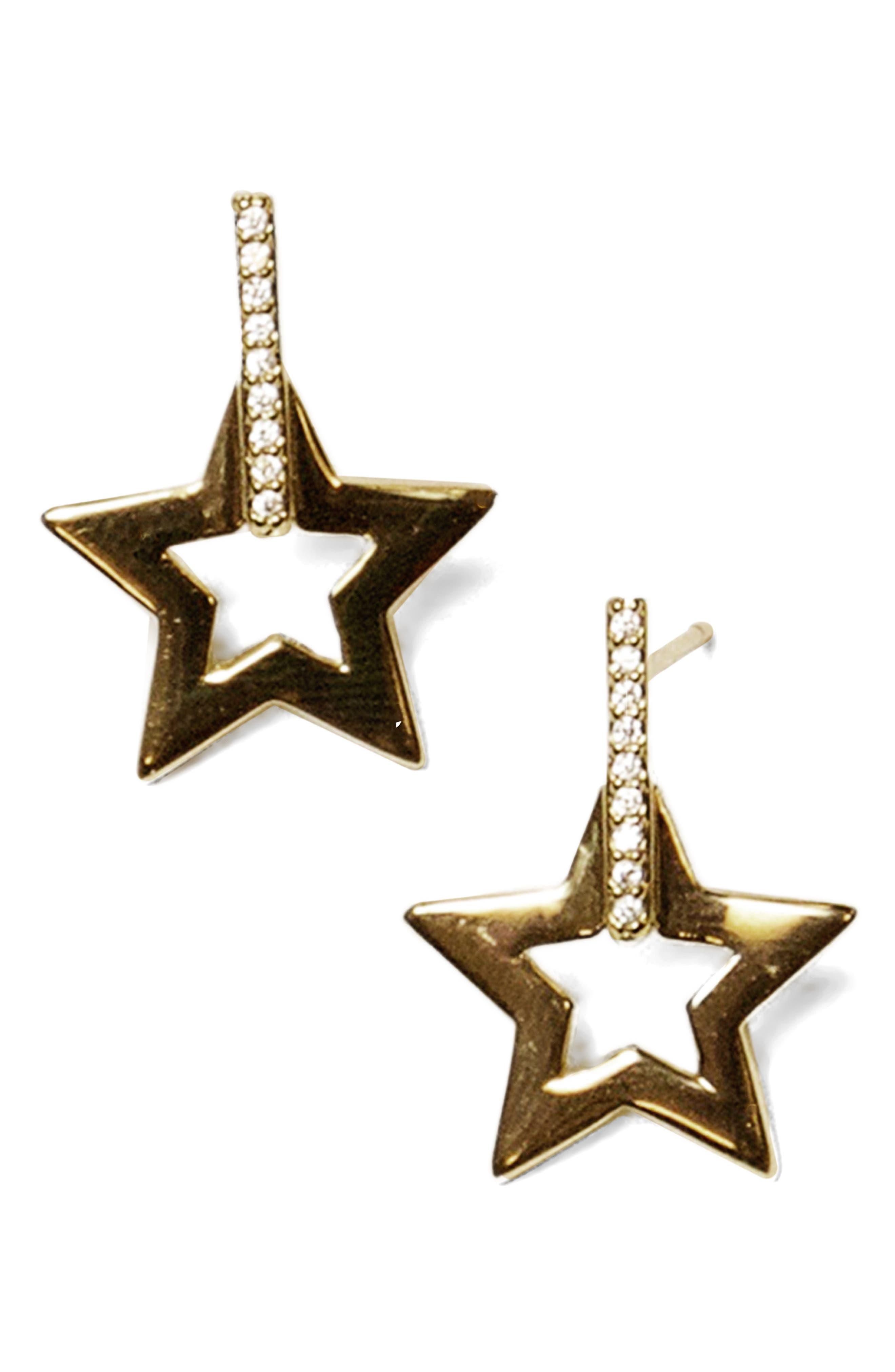 Open Star Drop Earrings,                         Main,                         color, Gold