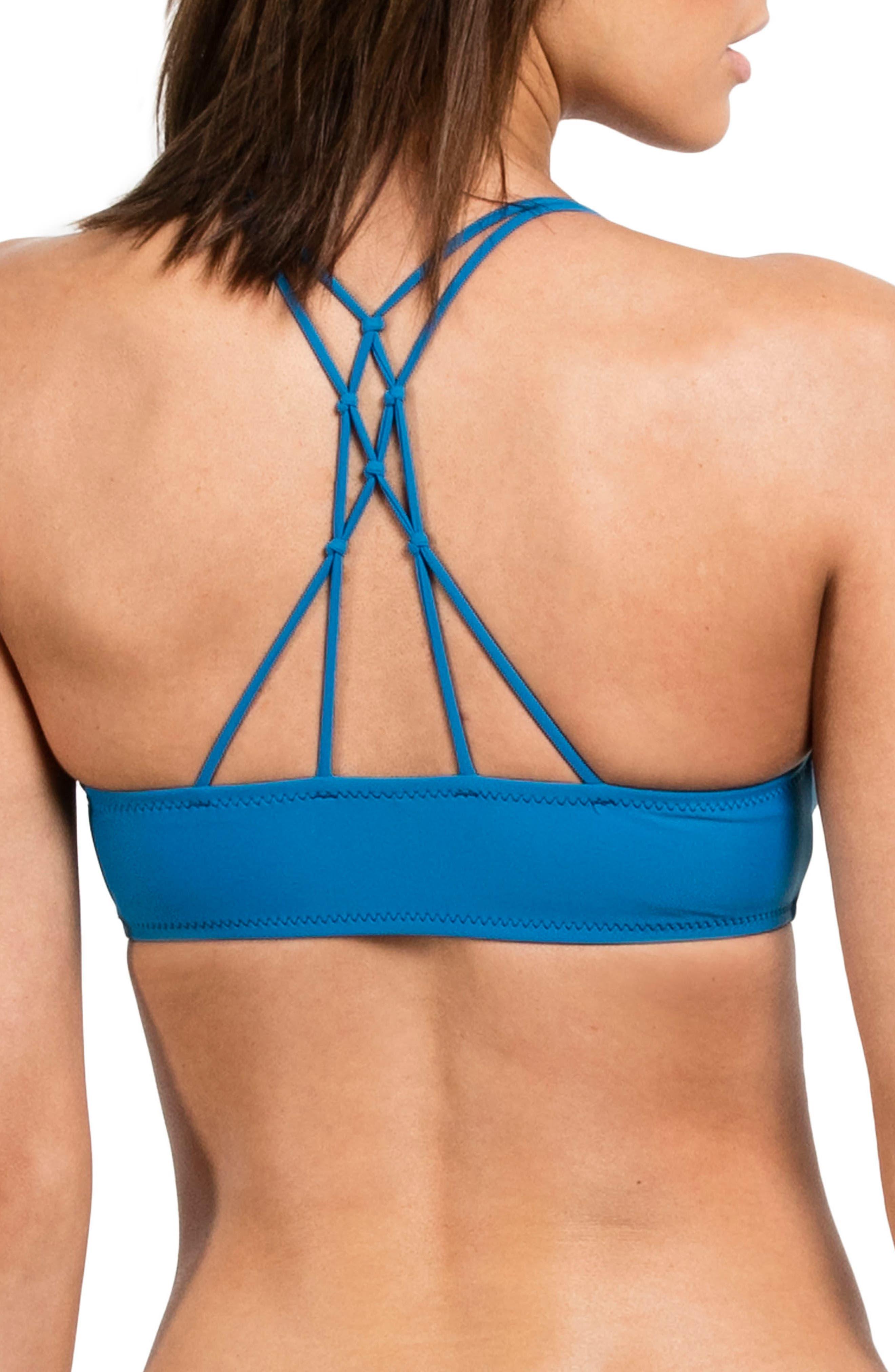 Simply Solid V-Neck Bikini Top,                             Alternate thumbnail 2, color,                             Ocean Blue