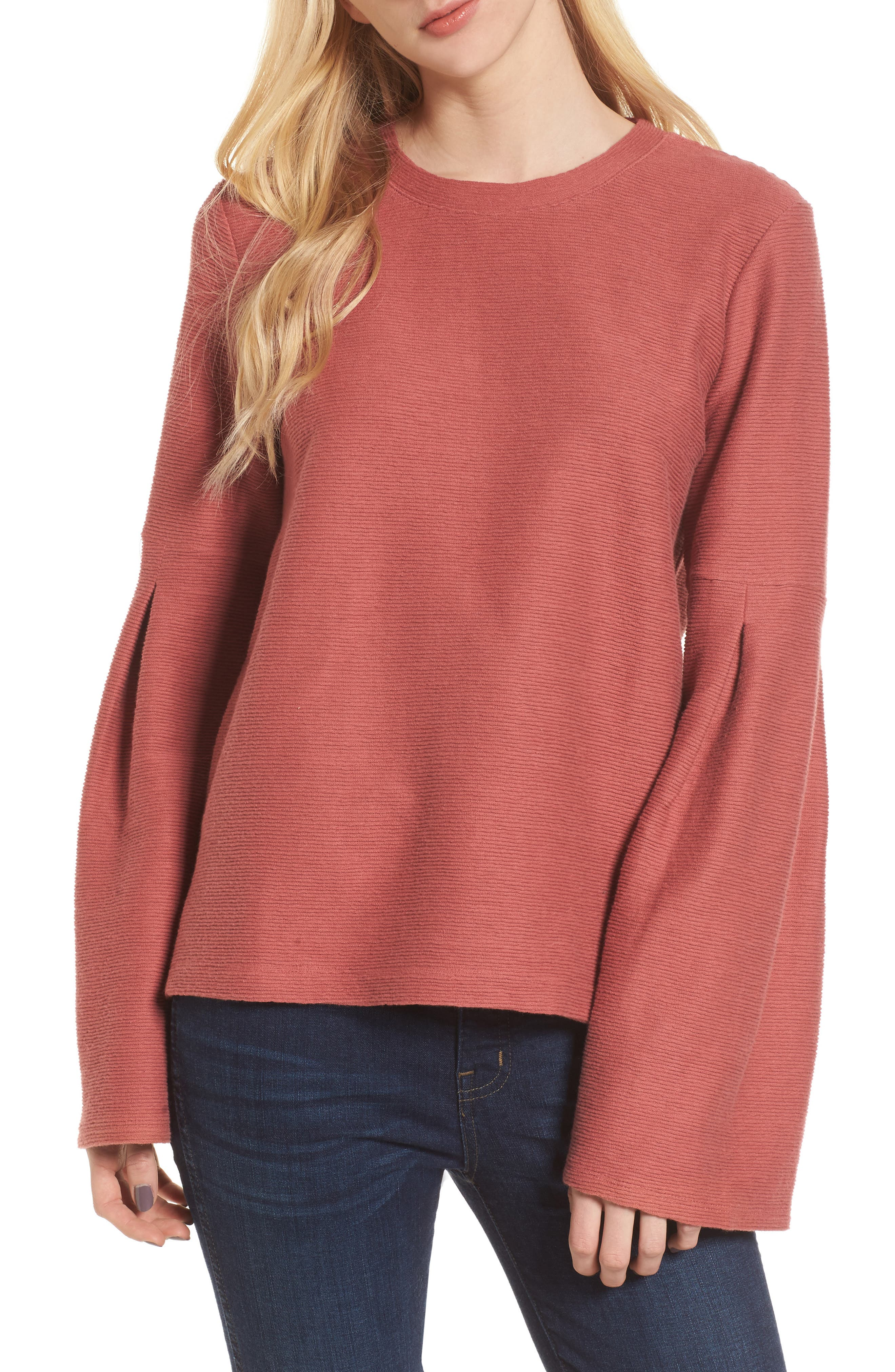 Flare Sleeve Ribbed Top,                         Main,                         color, Antique Rose
