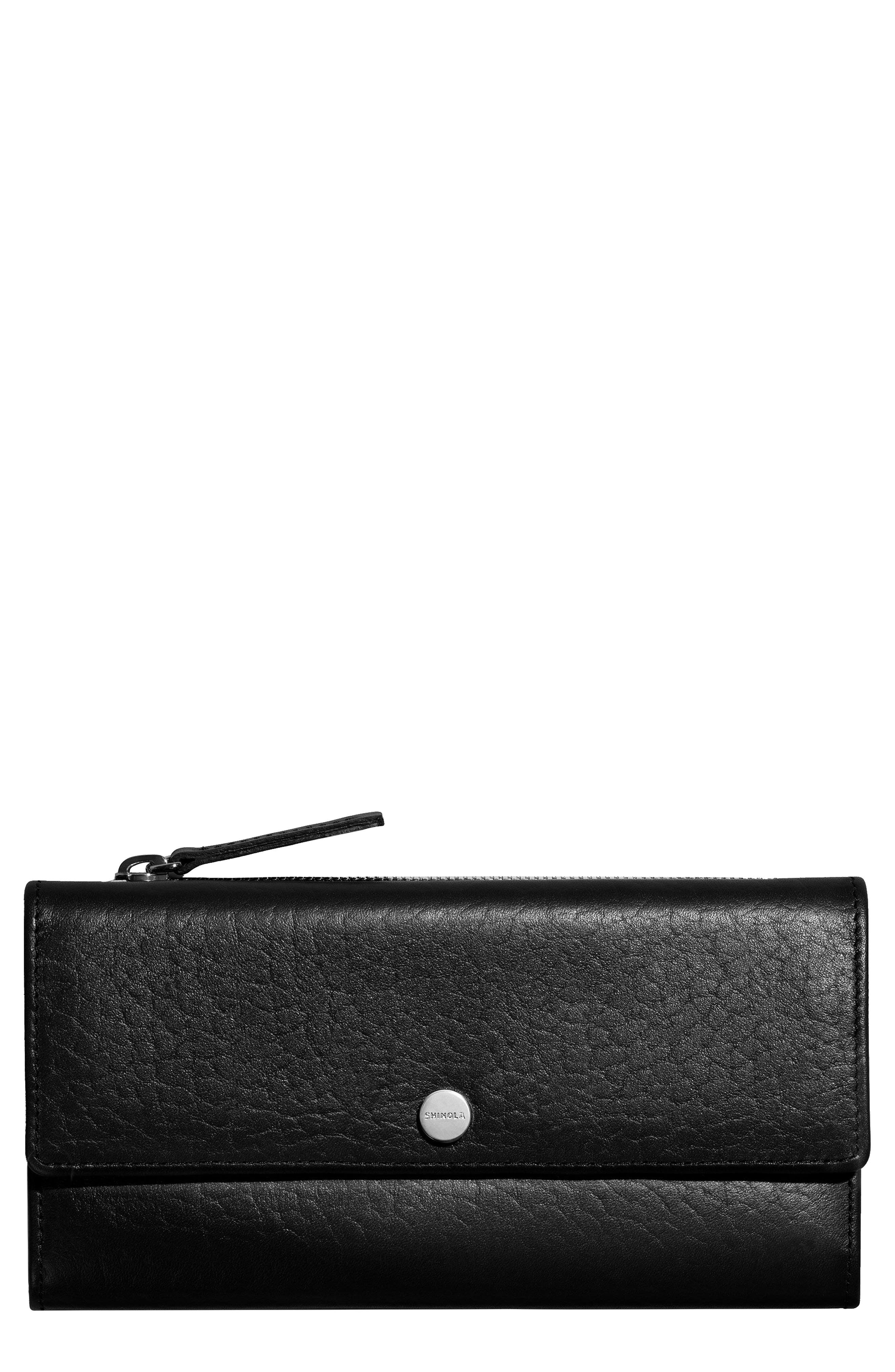Leather Continental Wallet,                             Main thumbnail 1, color,                             Black